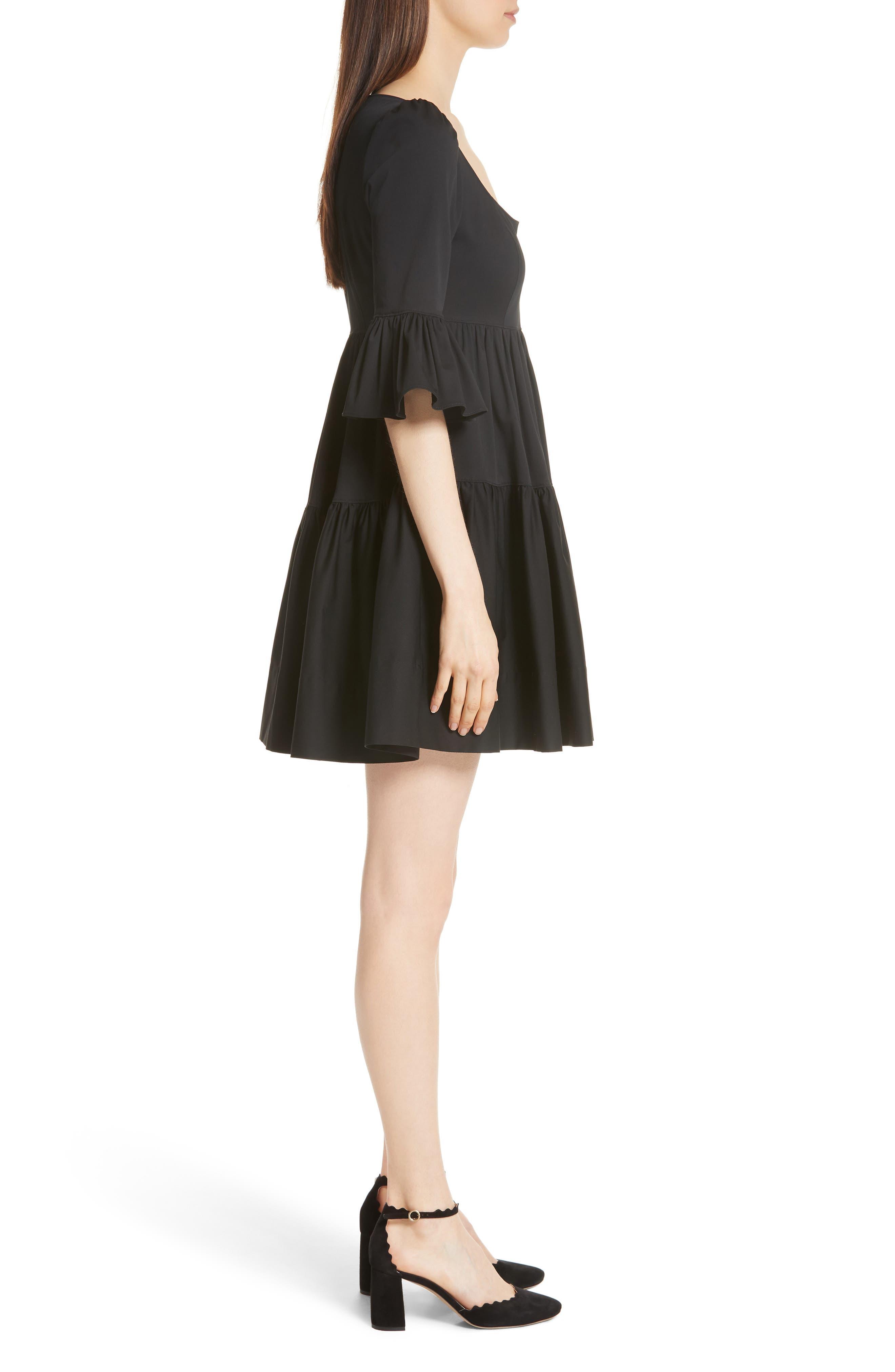 Anya Stretch Poplin Dress,                             Alternate thumbnail 3, color,                             001