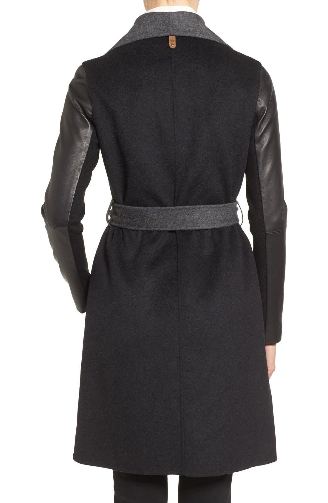 Leather Sleeve Wool Blend Wrap Coat,                             Alternate thumbnail 2, color,                             001