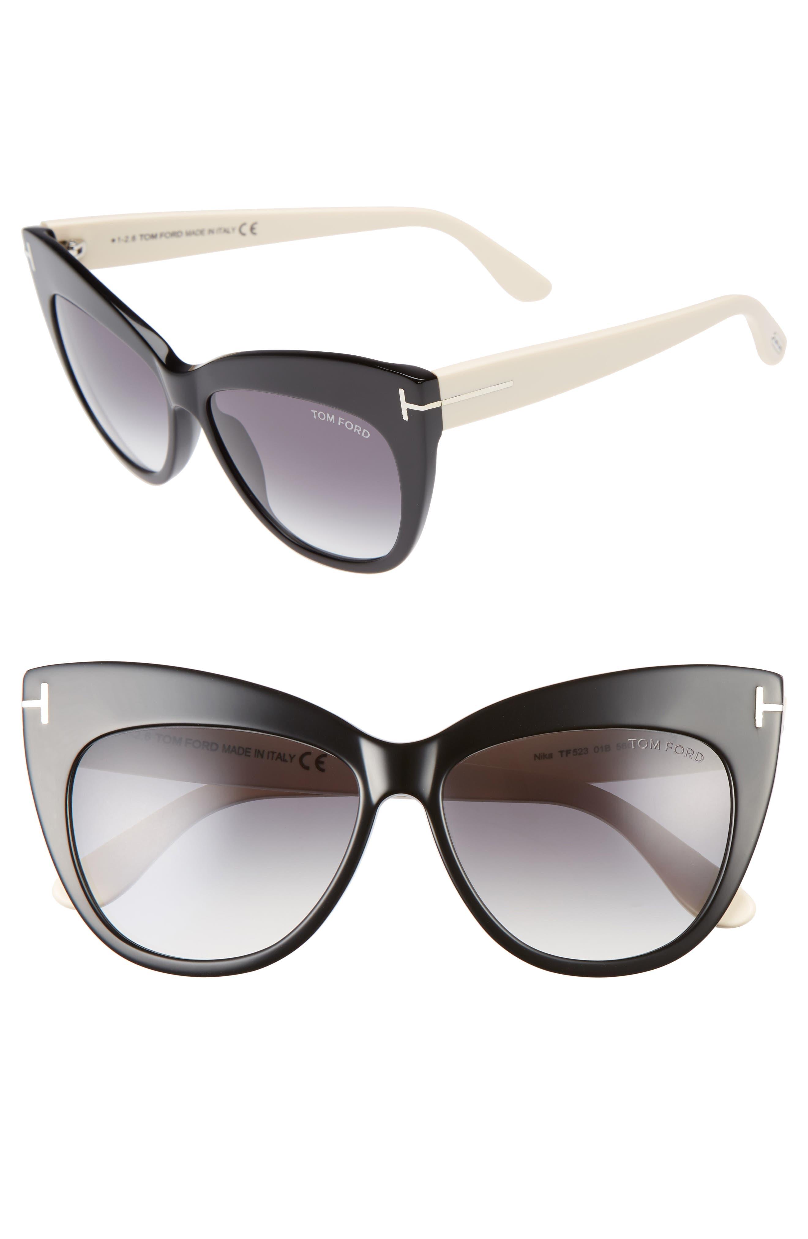 Nika 56mm Gradient Cat Eye Sunglasses,                         Main,                         color, 001