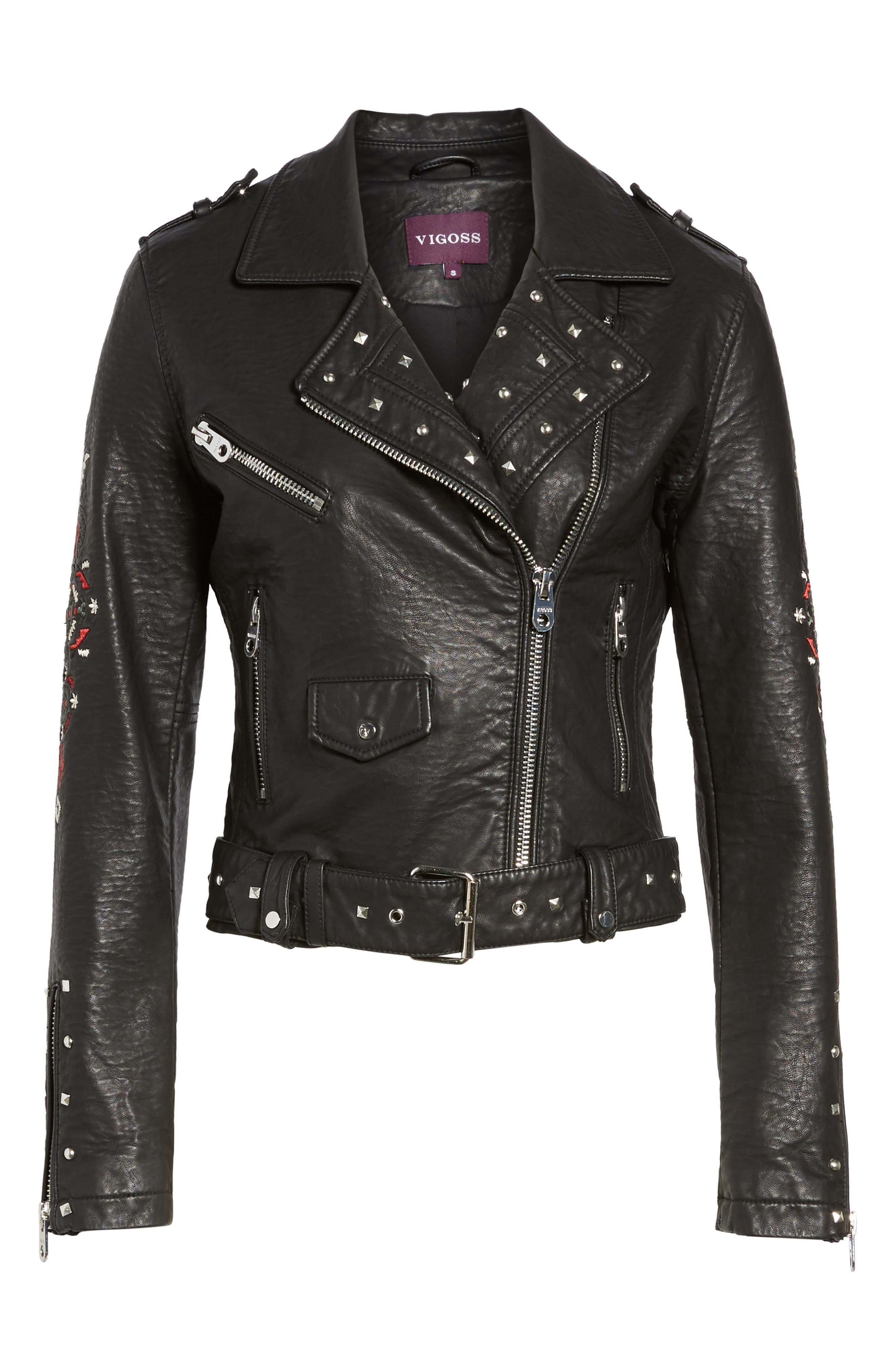Studded & Embroidered Faux Leather Moto Jacket,                             Alternate thumbnail 5, color,                             001