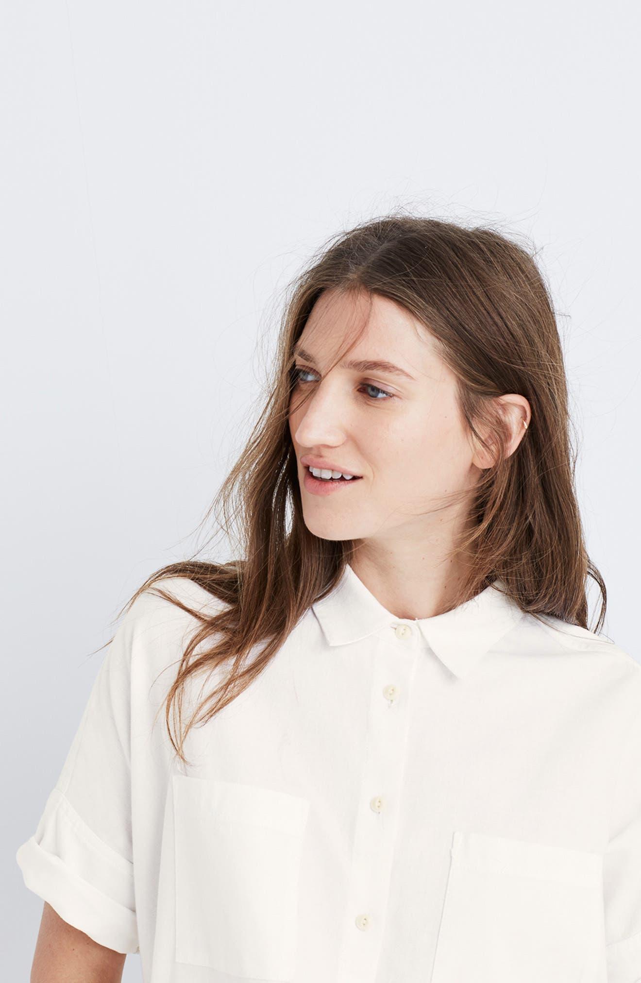 Cotton Courier Shirt,                             Alternate thumbnail 7, color,                             PURE WHITE