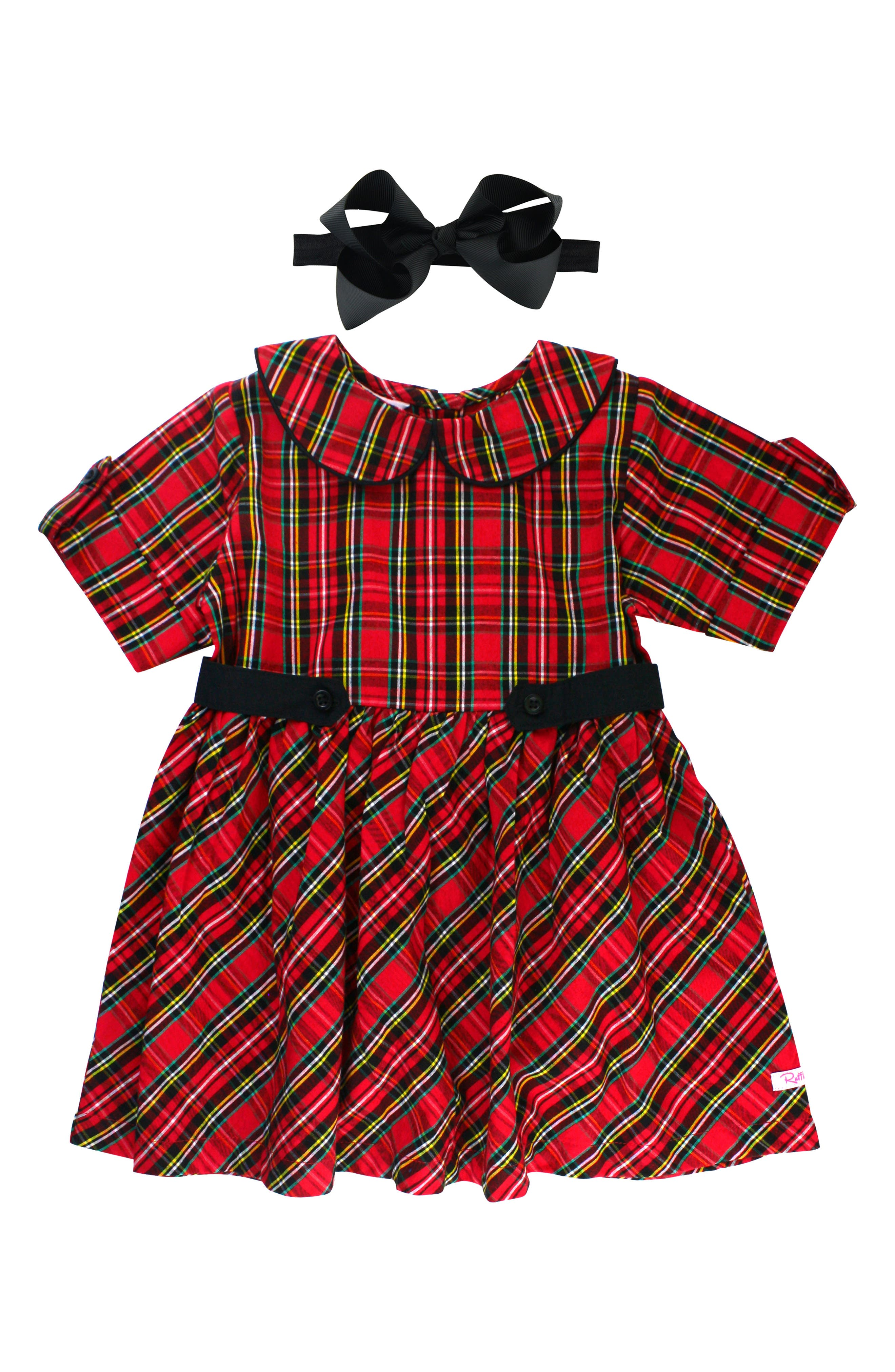 RUFFLEBUTTS Peter Pan Dress & Bow Head Band Set, Main, color, RED