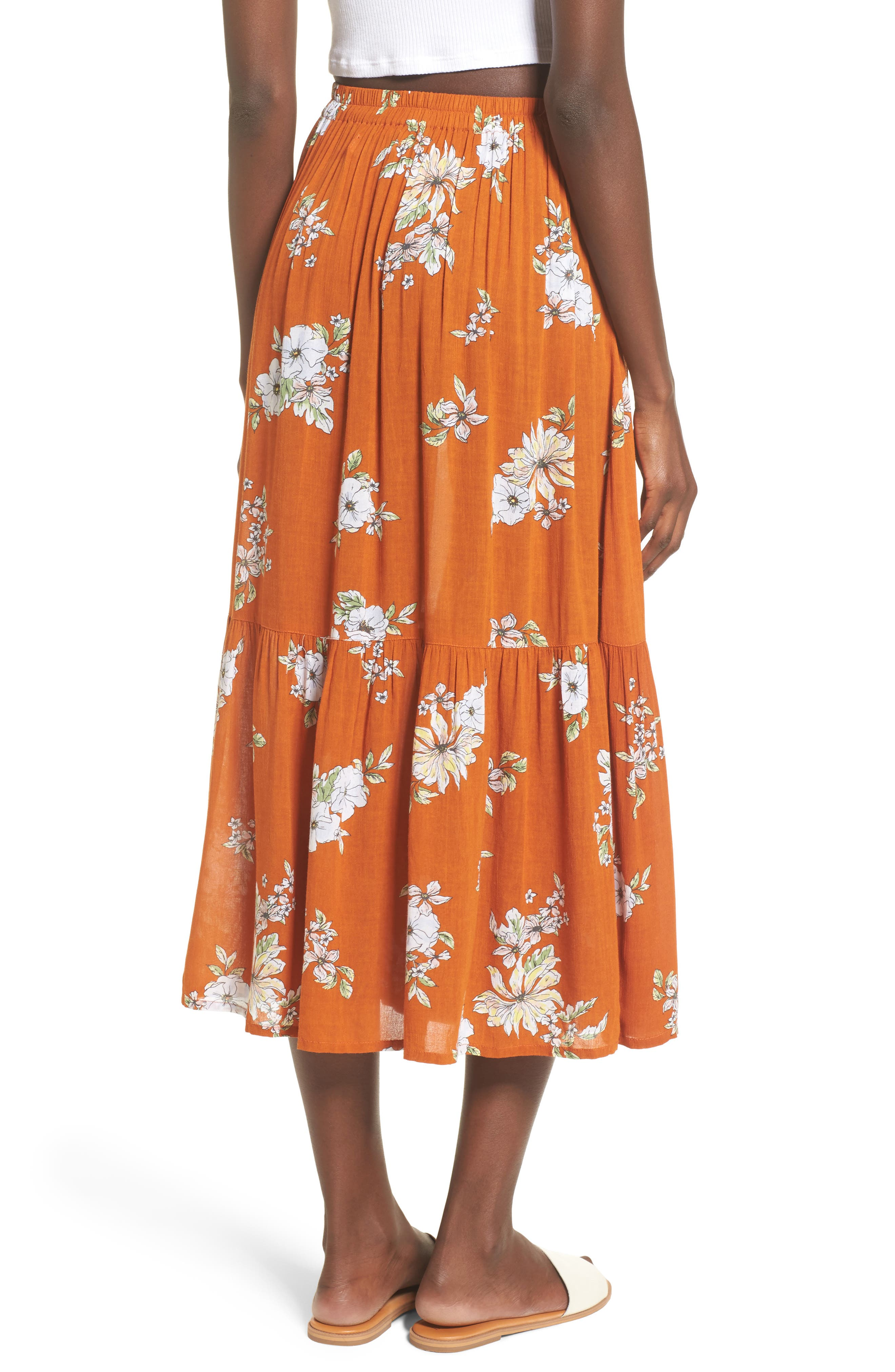 Rosewood Floral Tiered Skirt,                             Alternate thumbnail 2, color,