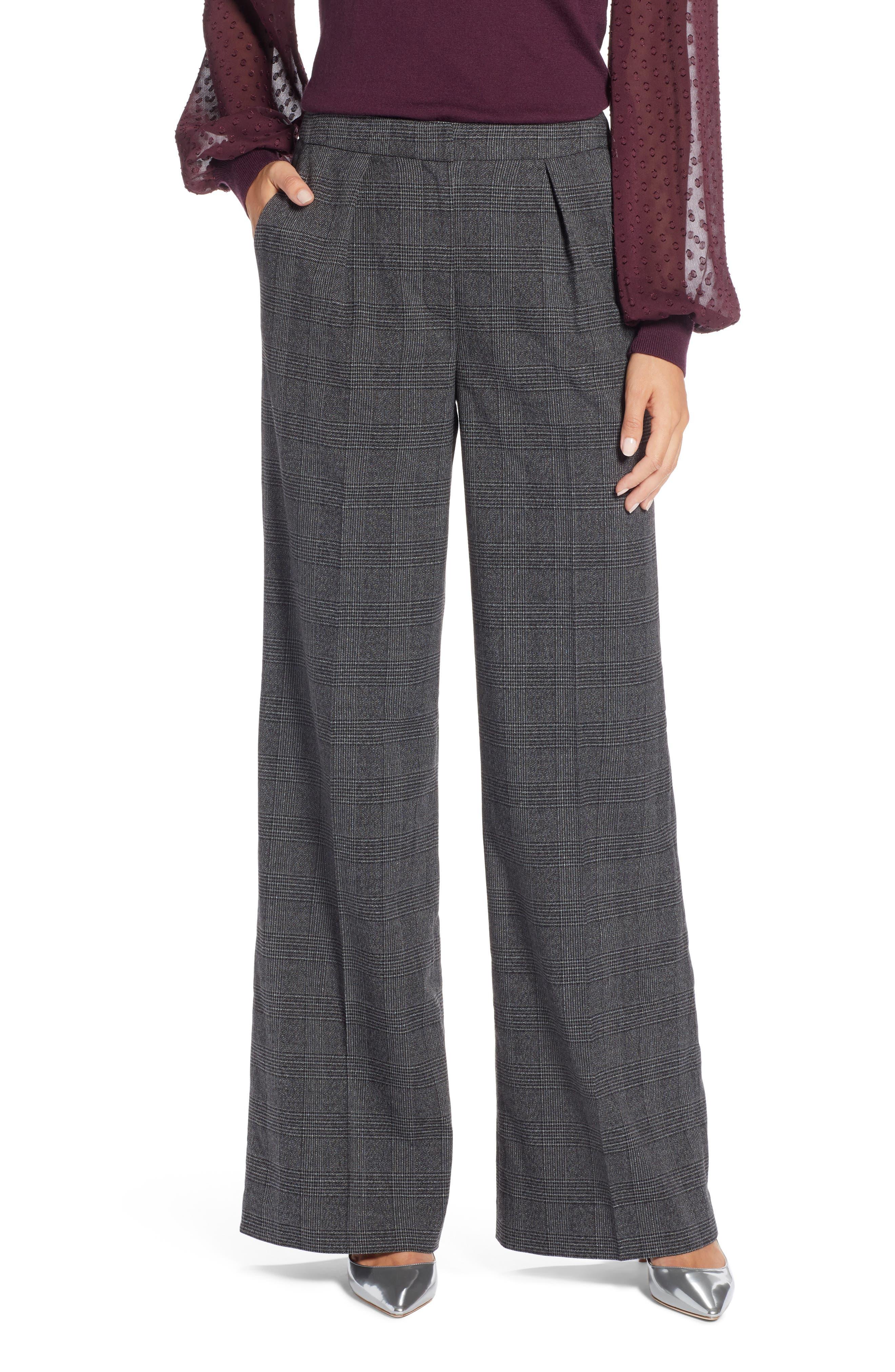 Plaid High Waist Wide Leg Pants,                         Main,                         color, 030