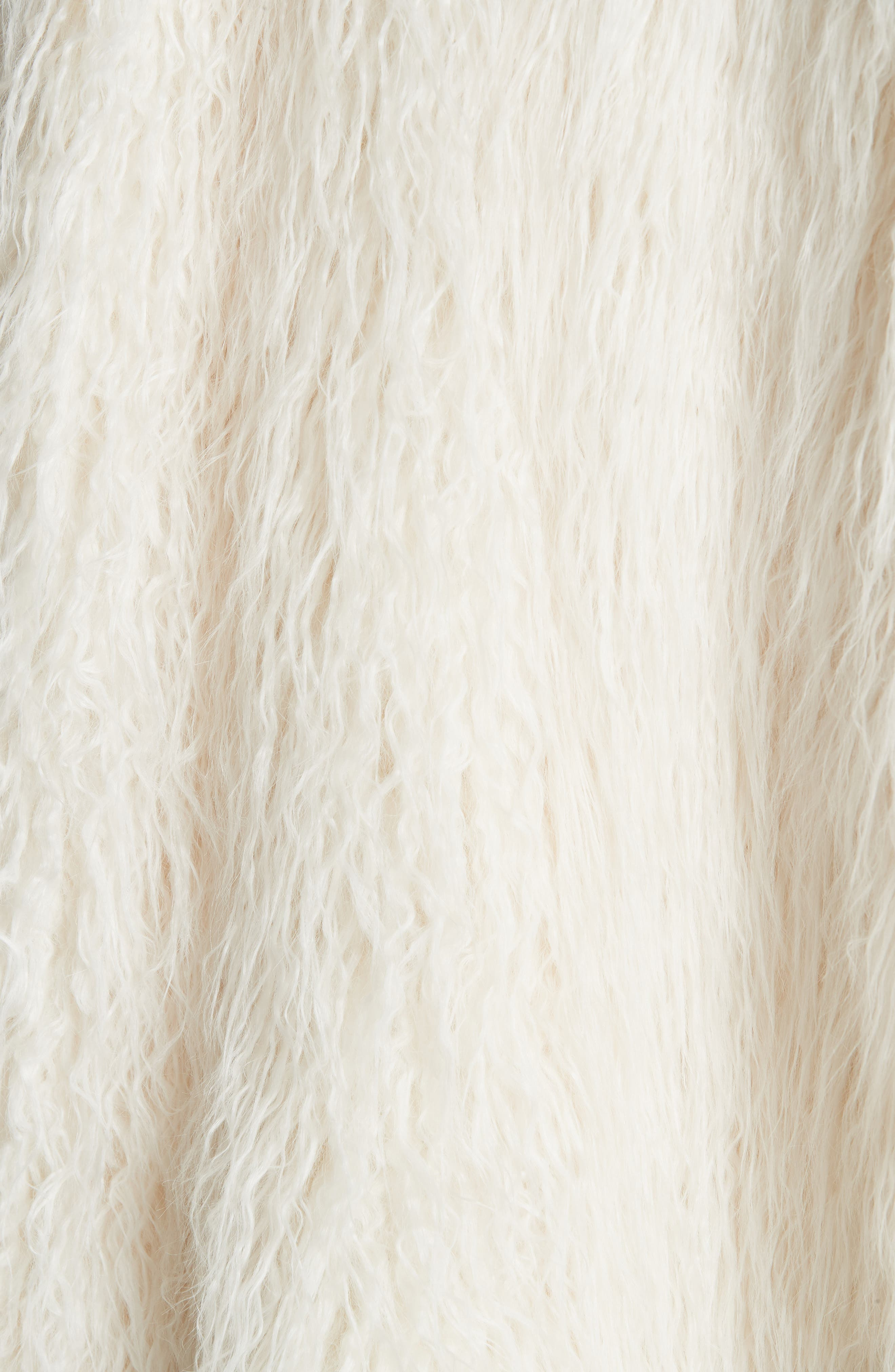Mongolian Faux Fur Coat,                             Alternate thumbnail 6, color,                             IVORY