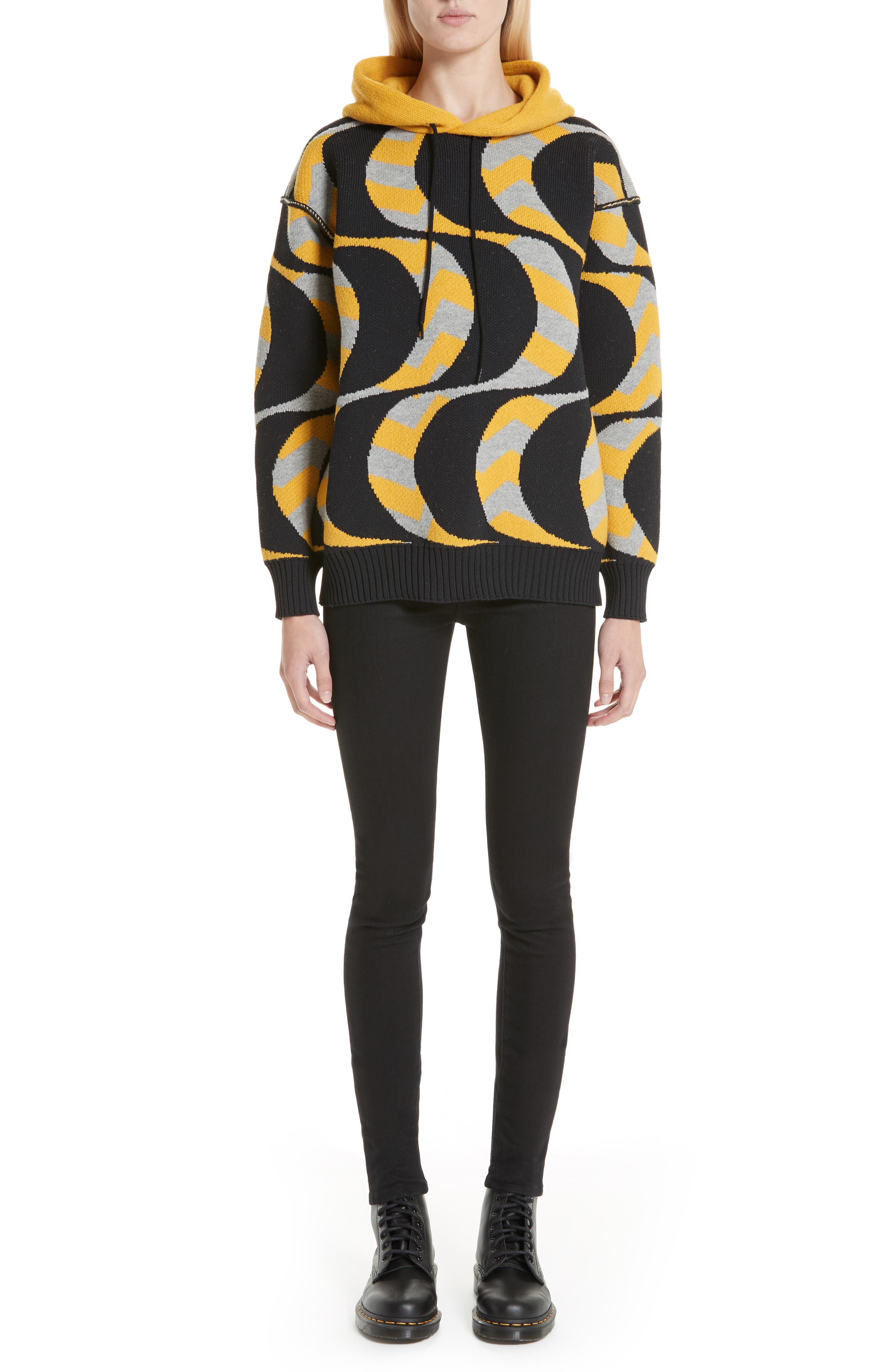 Swirl Print Oversized Hoodie,                             Alternate thumbnail 7, color,                             BLACK/ YELLOW