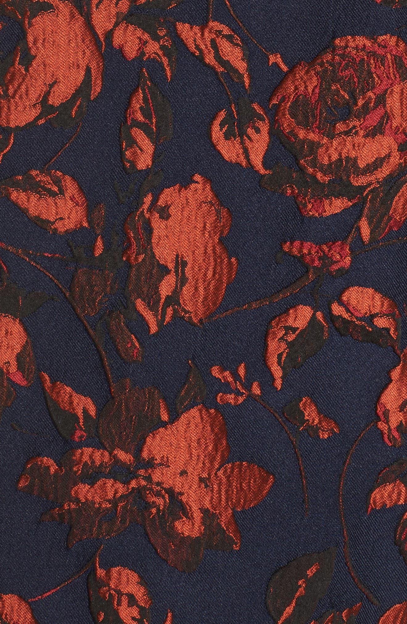 Jacquard Fit & Flare Dress,                             Alternate thumbnail 6, color,                             NAVY MULTI