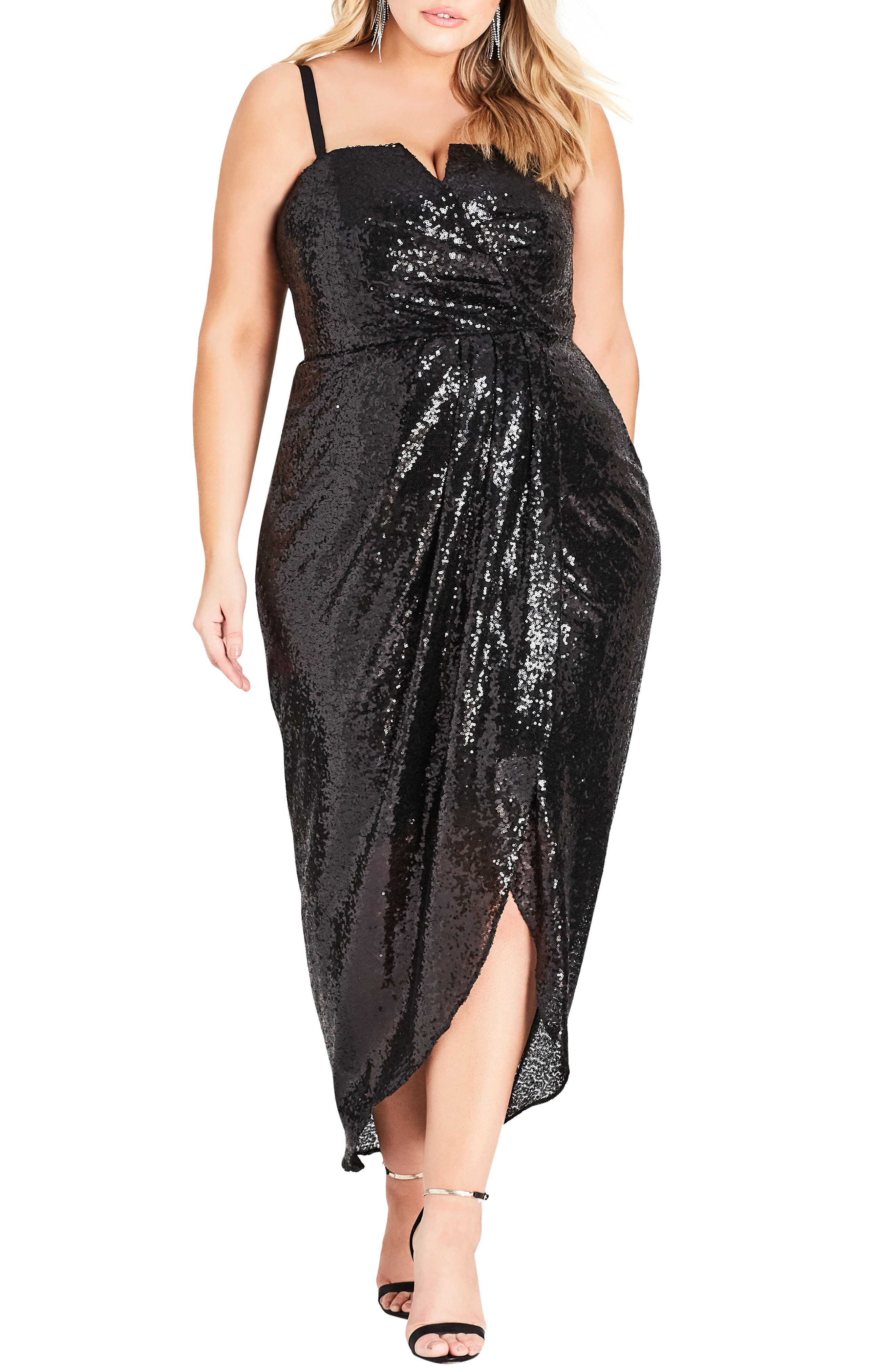 Siren Sequin Convertible Strapless Gown,                         Main,                         color, BLACK