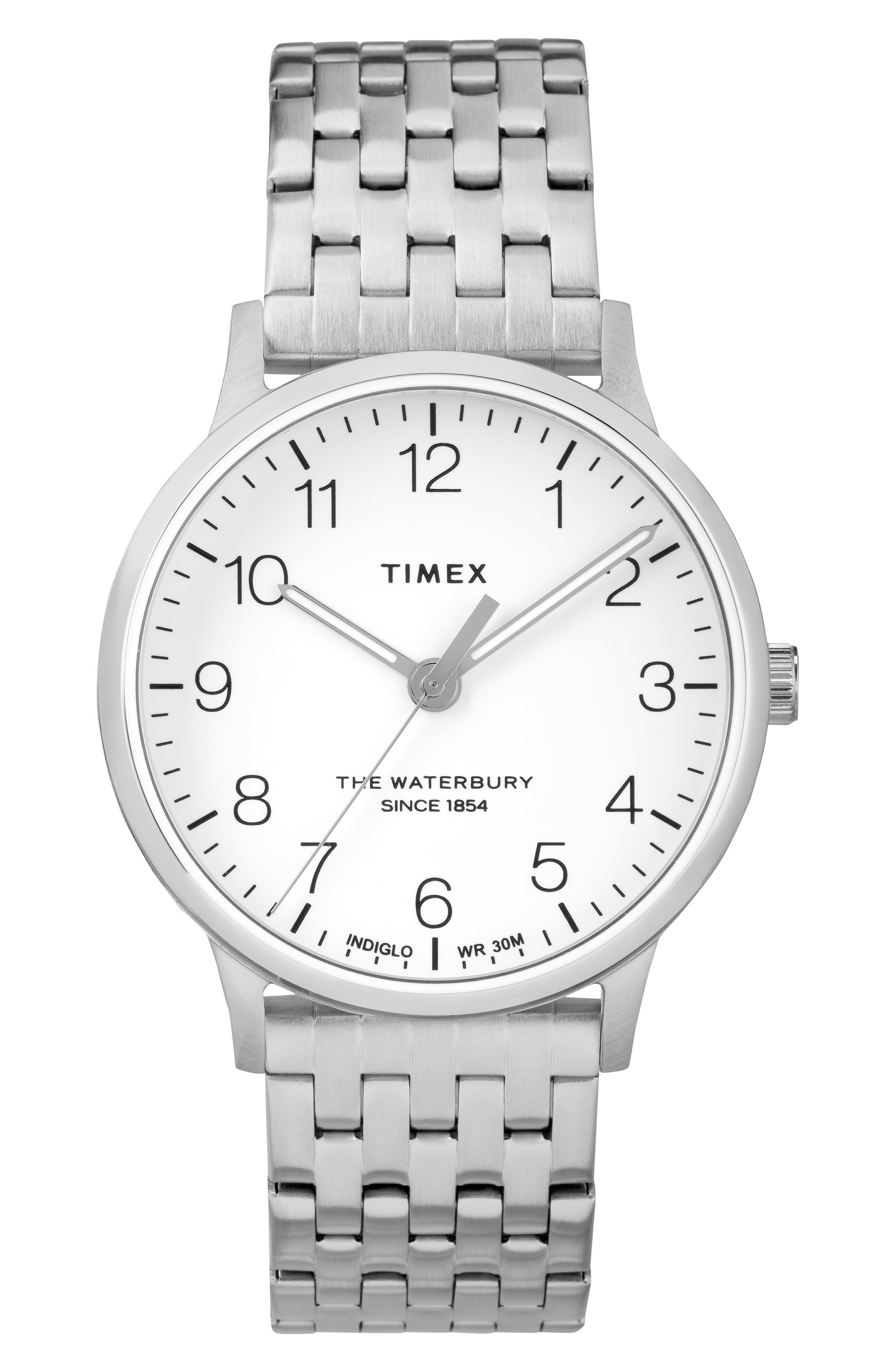 Waterbury Bracelet Watch, 36mm,                             Main thumbnail 1, color,                             SILVER/ WHITE/ SILVER