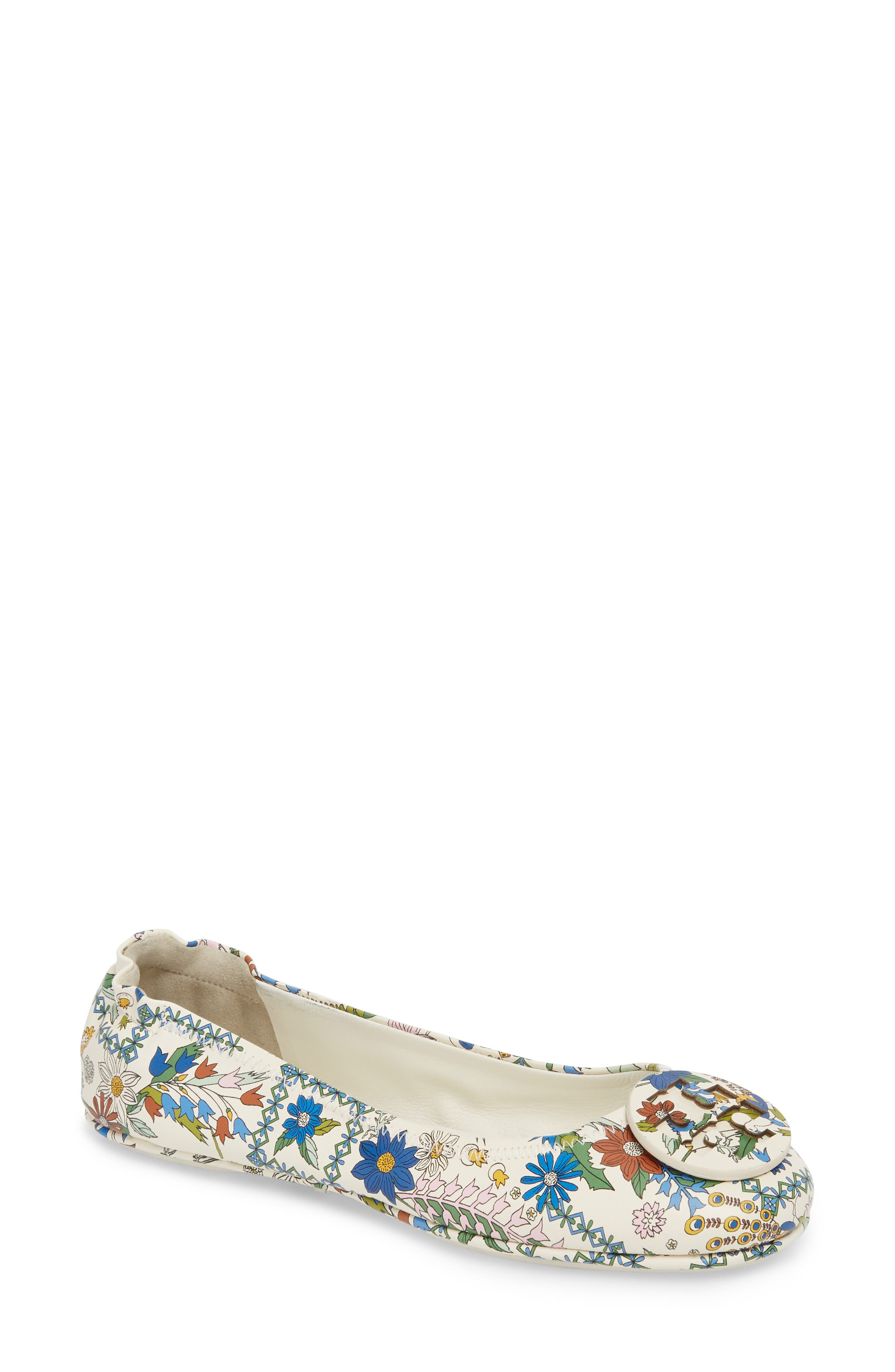 f00f293761c6ae ... (Ivory Meadow Sweet UPC 190041870738 product image for Women s Tory  Burch  Minnie  Travel Ballet Flat