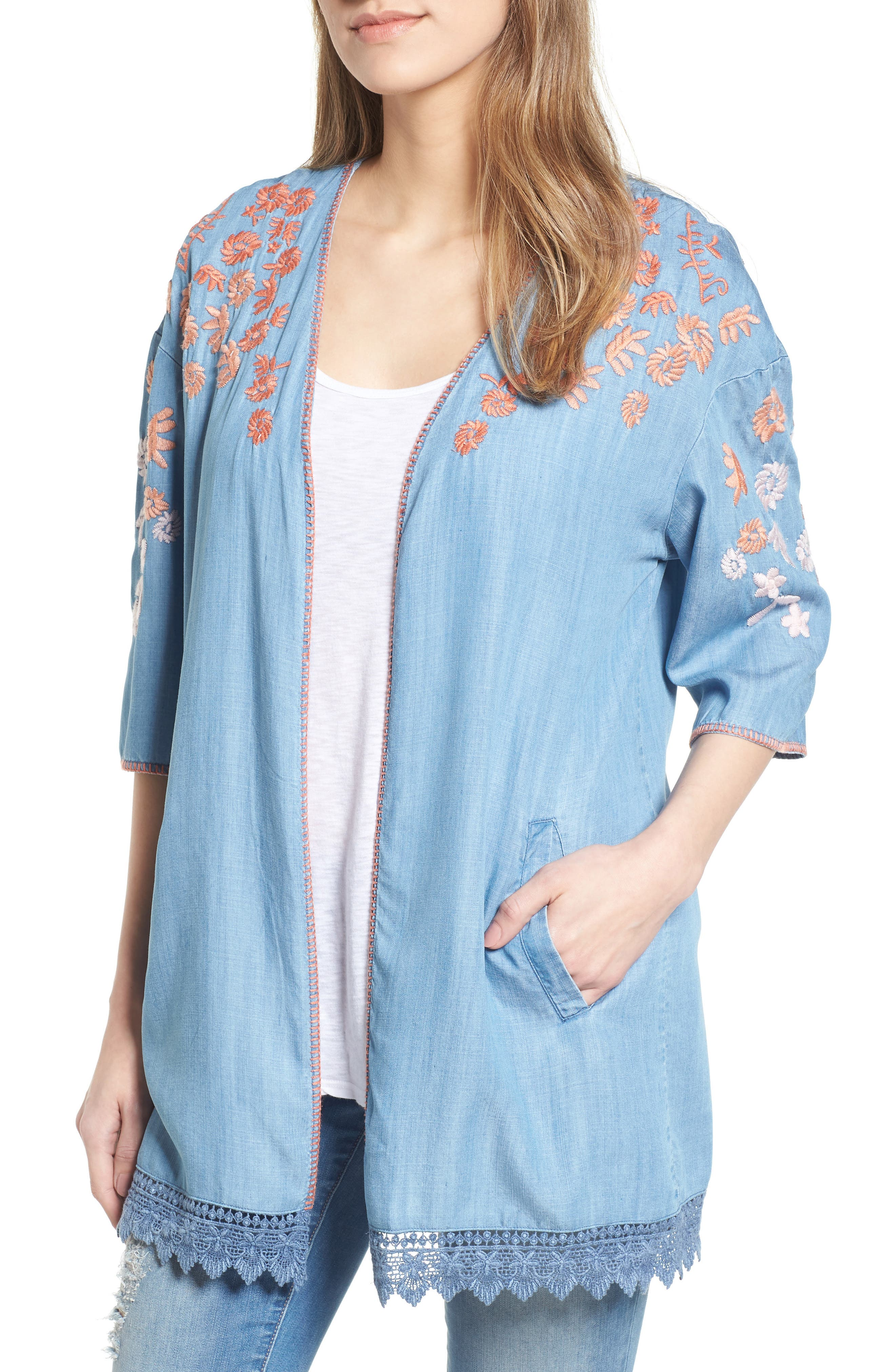 Embroidered Chambray Kimono,                             Main thumbnail 1, color,                             BLUE EMBROIDER