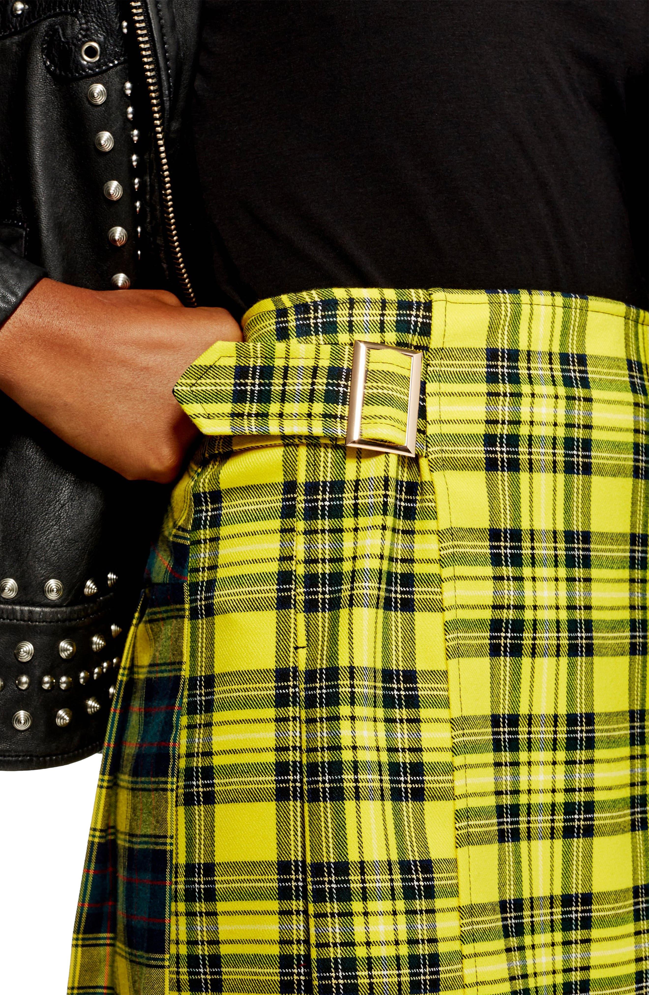 Mix Check Kilt Miniskirt,                             Alternate thumbnail 3, color,                             YELLOW MULTI