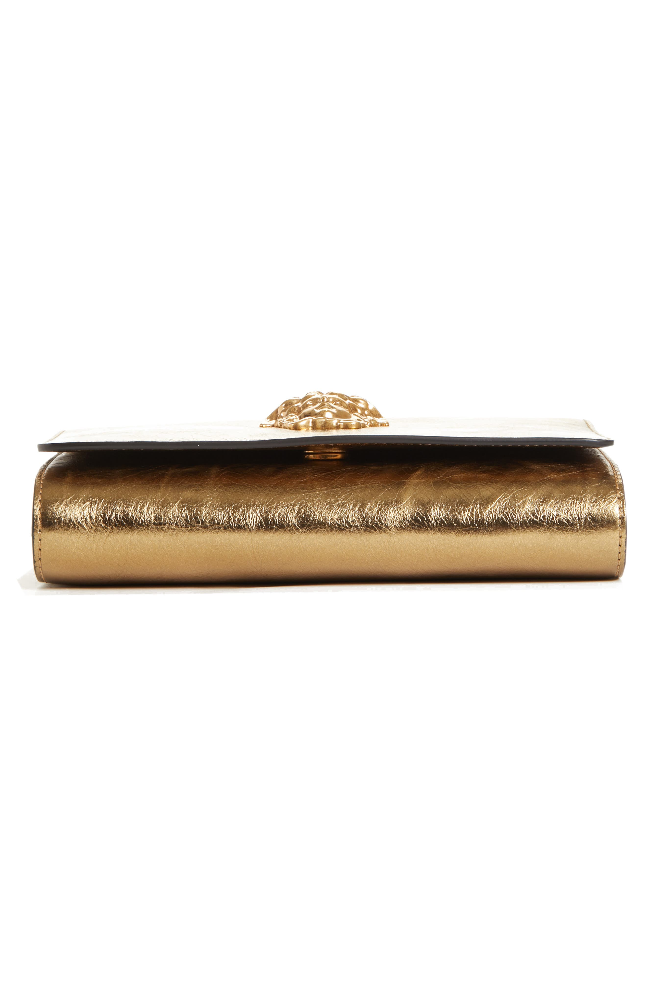Palazzo Metallic Leather Clutch,                             Alternate thumbnail 6, color,