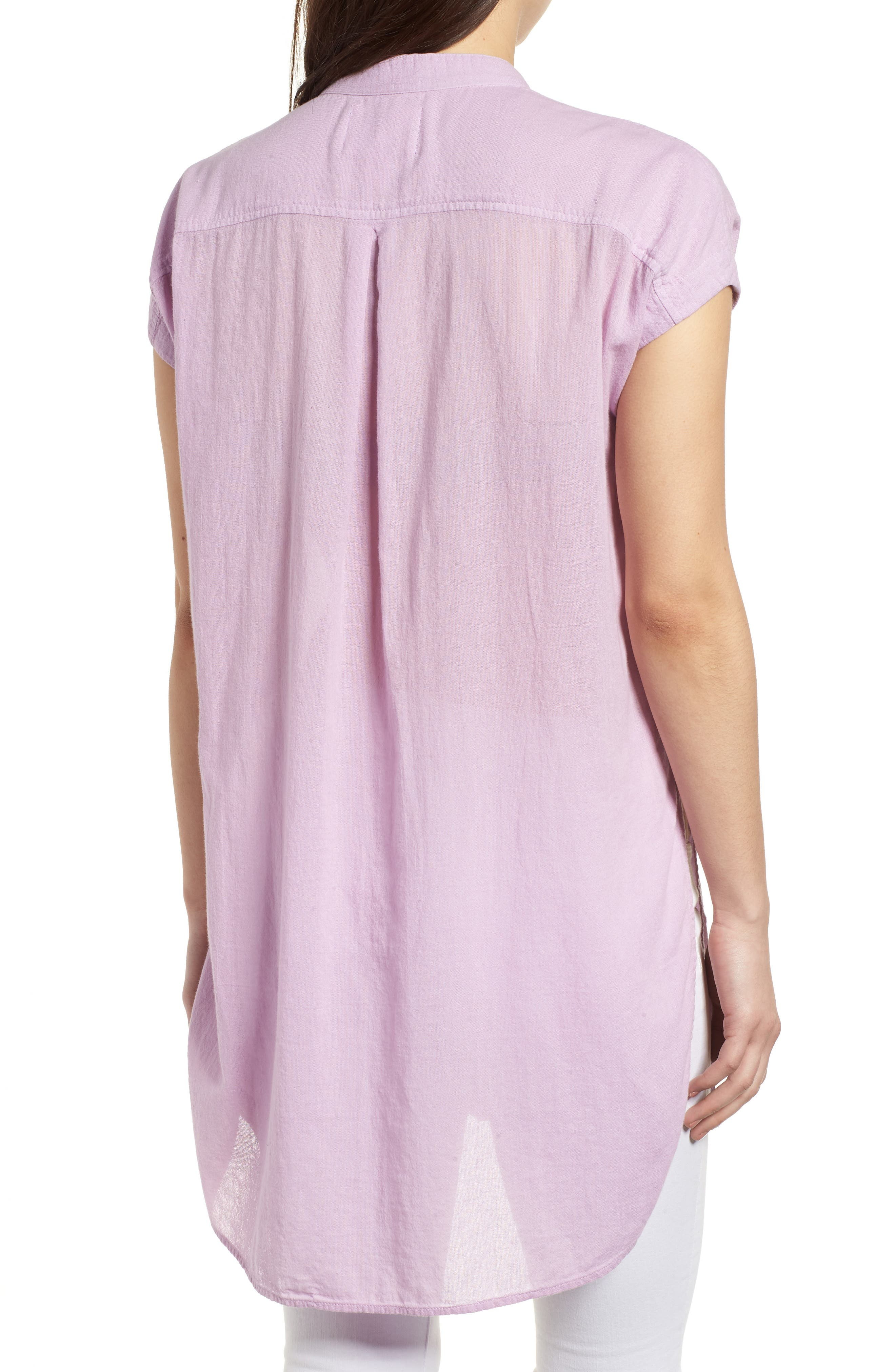Button Front Longline Top,                             Alternate thumbnail 14, color,