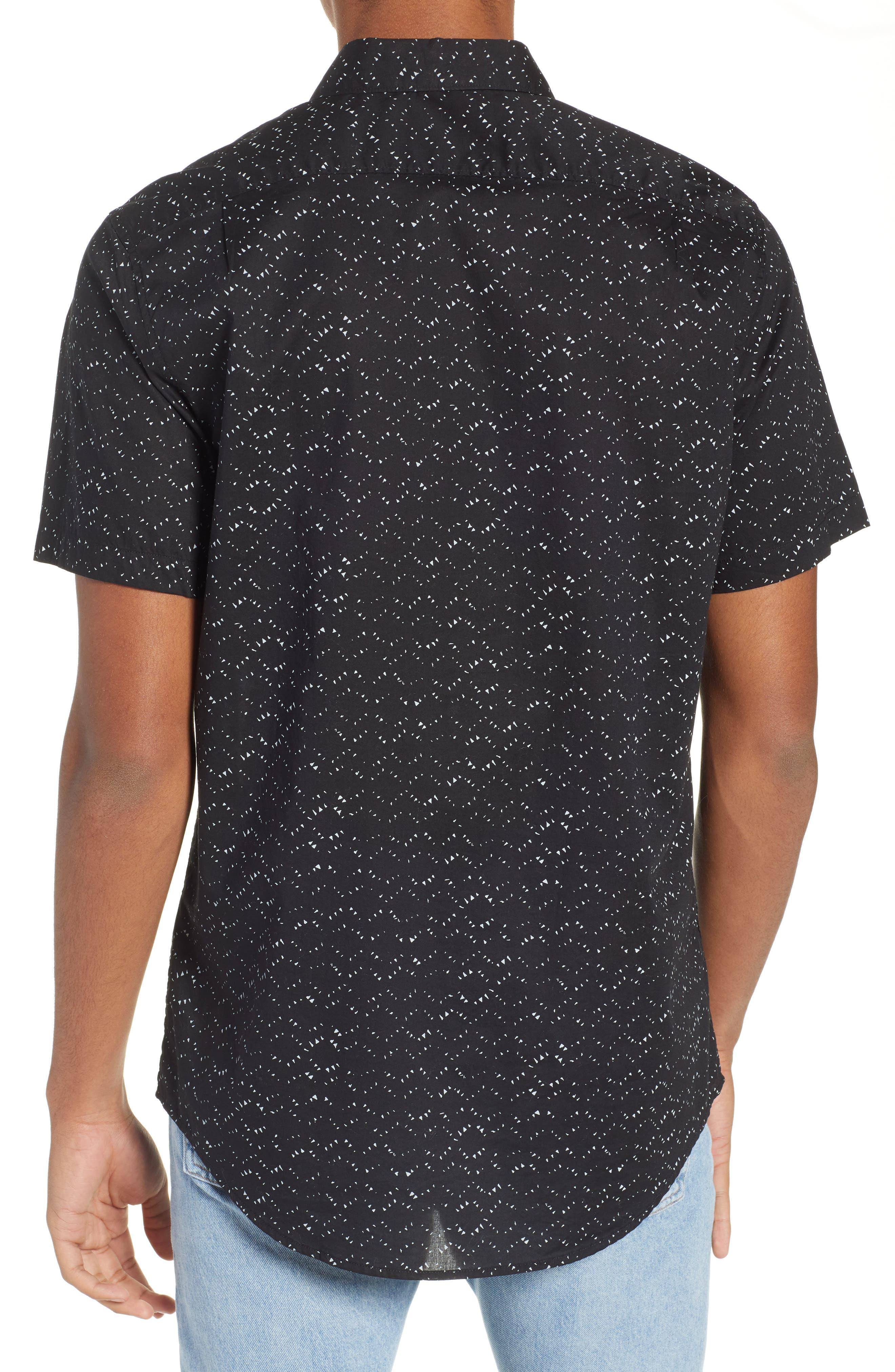 Sundays Print Camp Shirt,                             Alternate thumbnail 3, color,                             BLACK