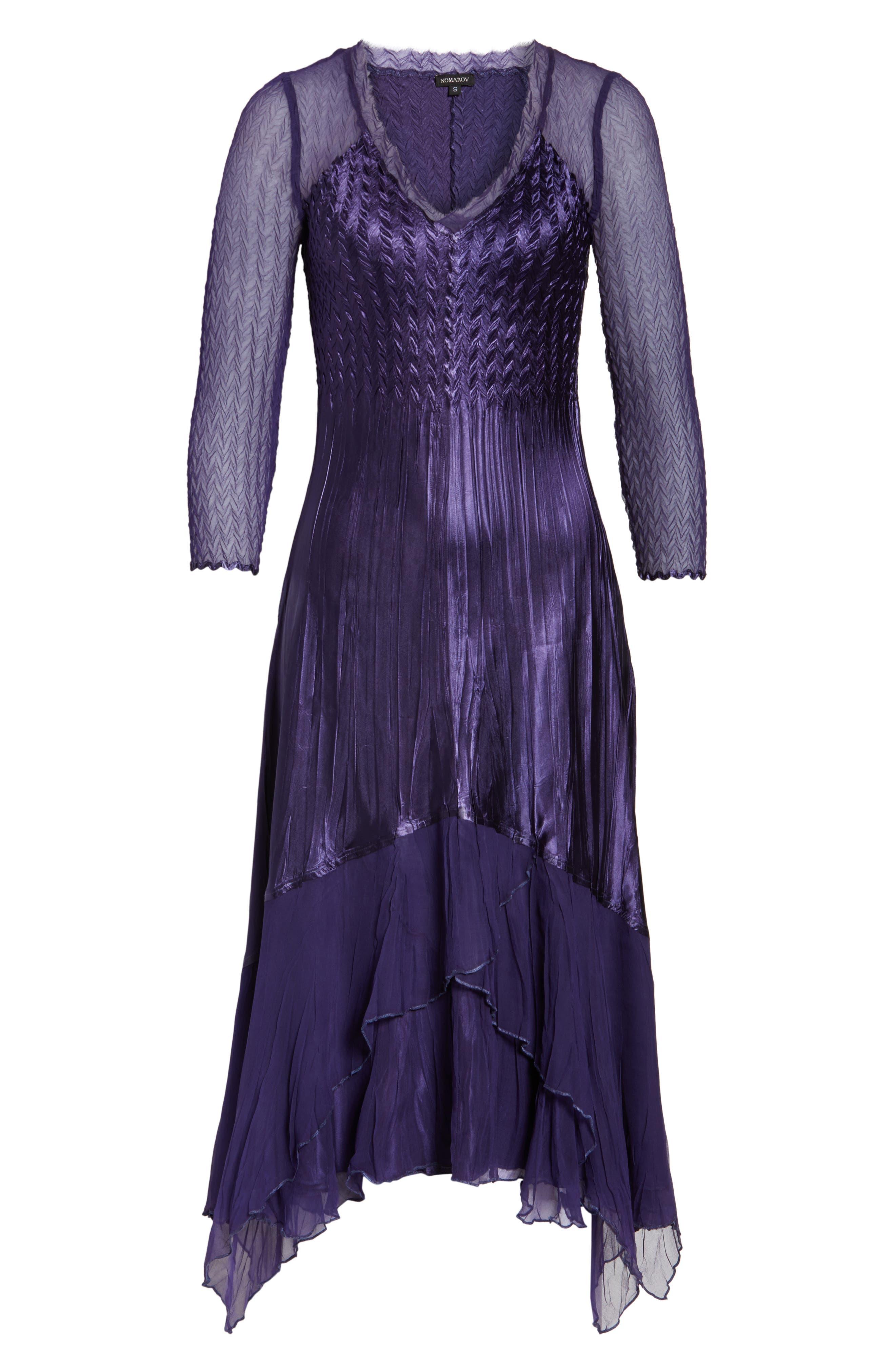 Handkerchief Hem A-Line Dress,                             Alternate thumbnail 6, color,