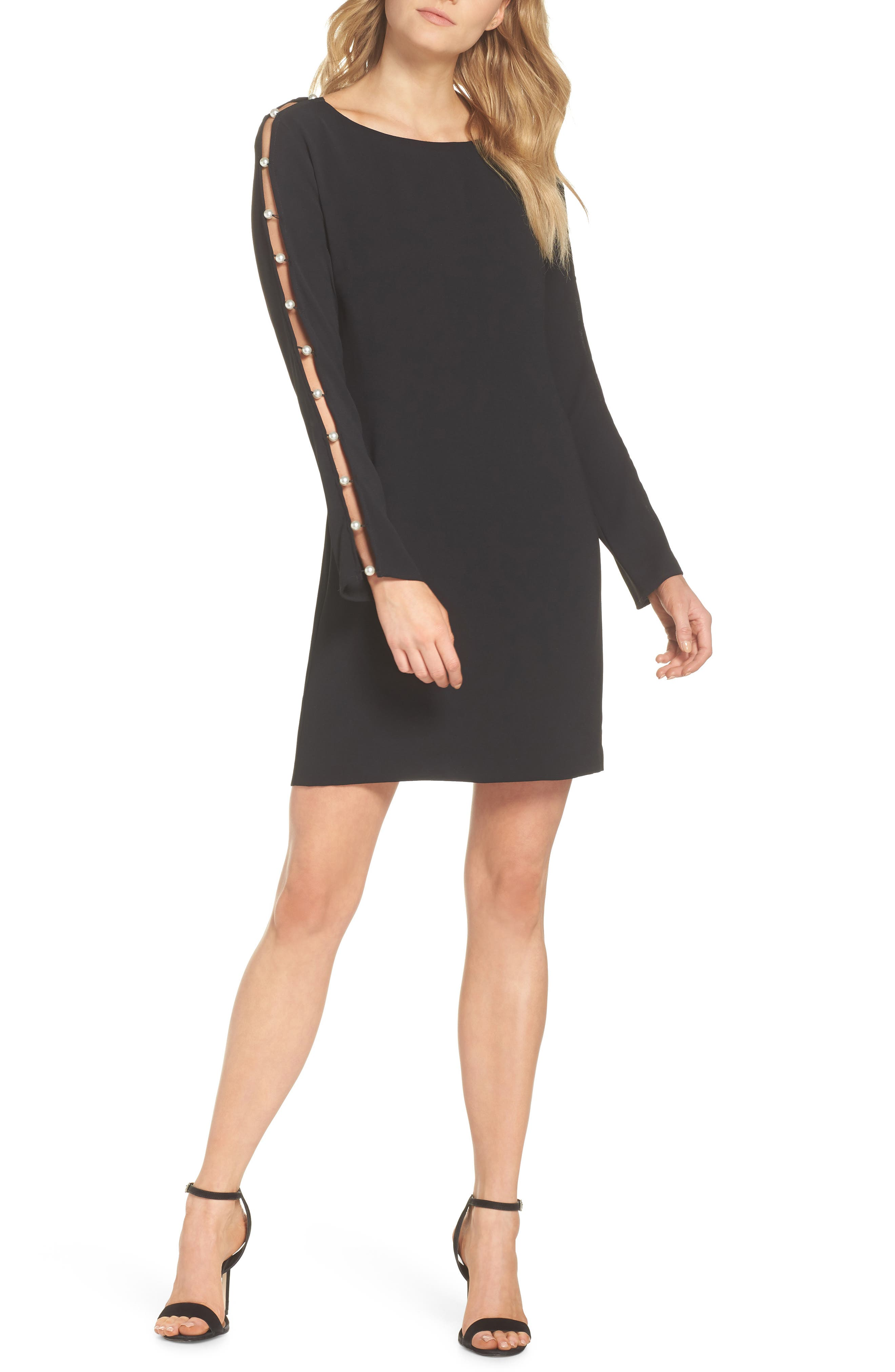 Beaded Sleeve Shift Dress,                             Main thumbnail 1, color,                             BLACK