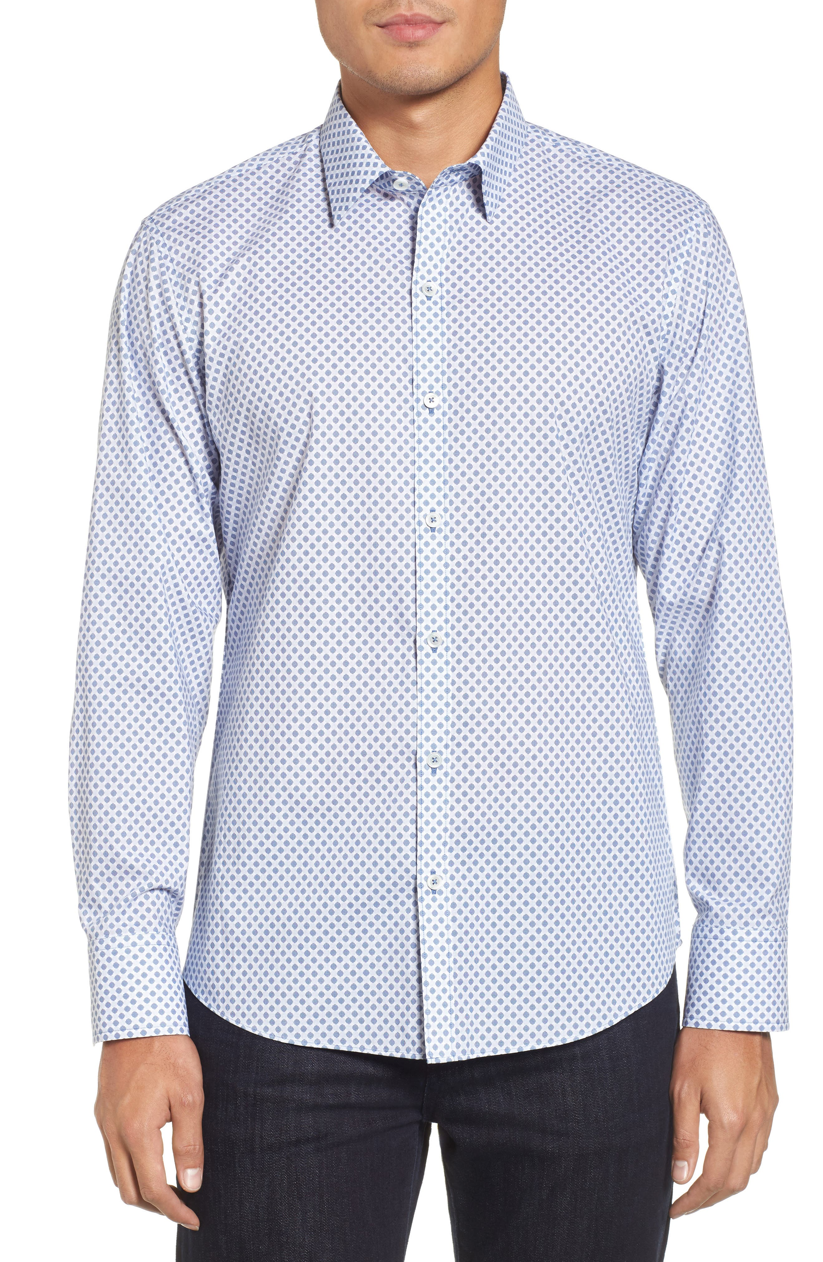 Obi Slim Fit Circle Print Sport Shirt,                         Main,                         color, NAVY