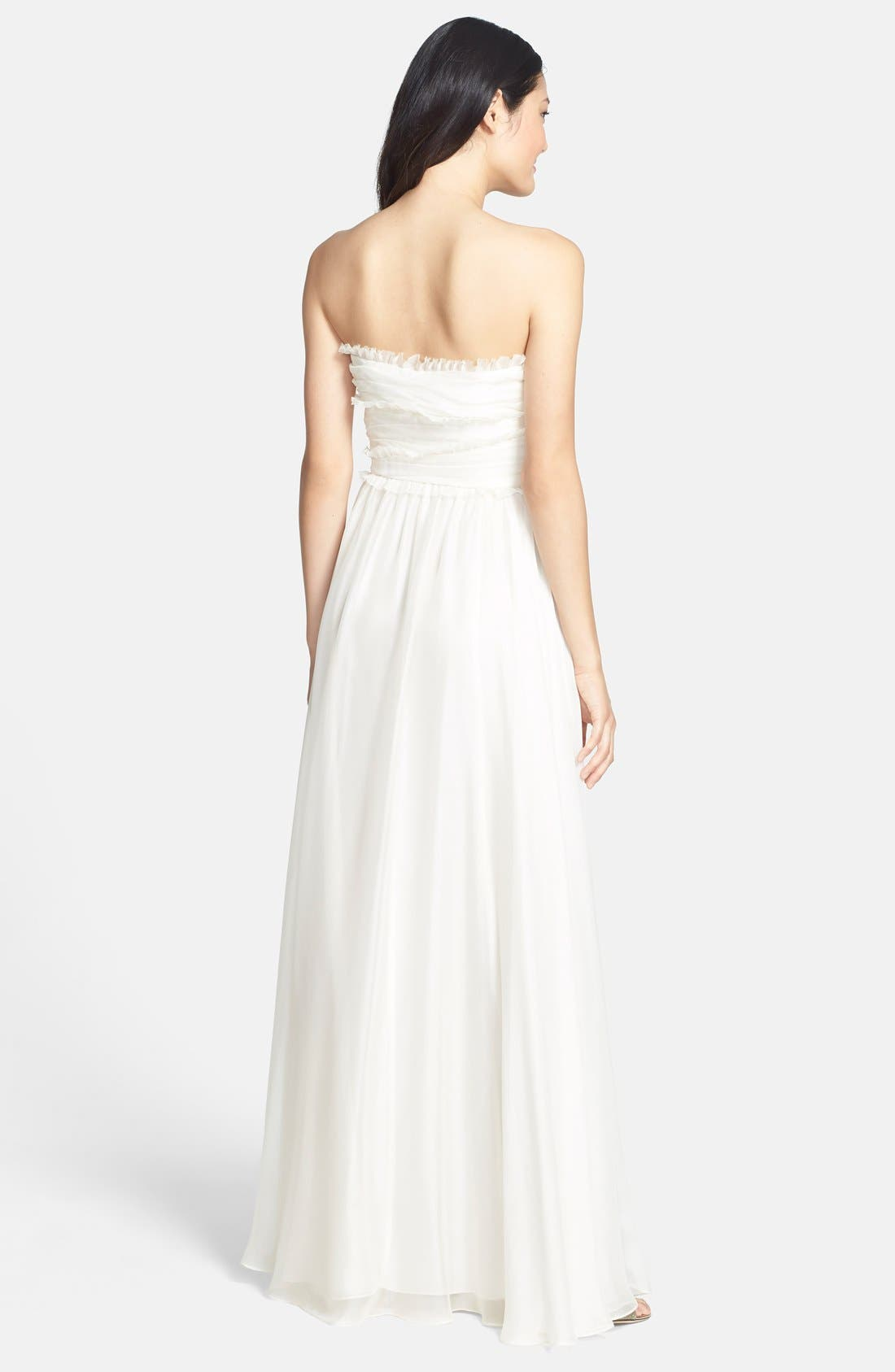 ML Monique Lhuillier Bridesmaids Strapless Chiffon Gown,                             Alternate thumbnail 45, color,