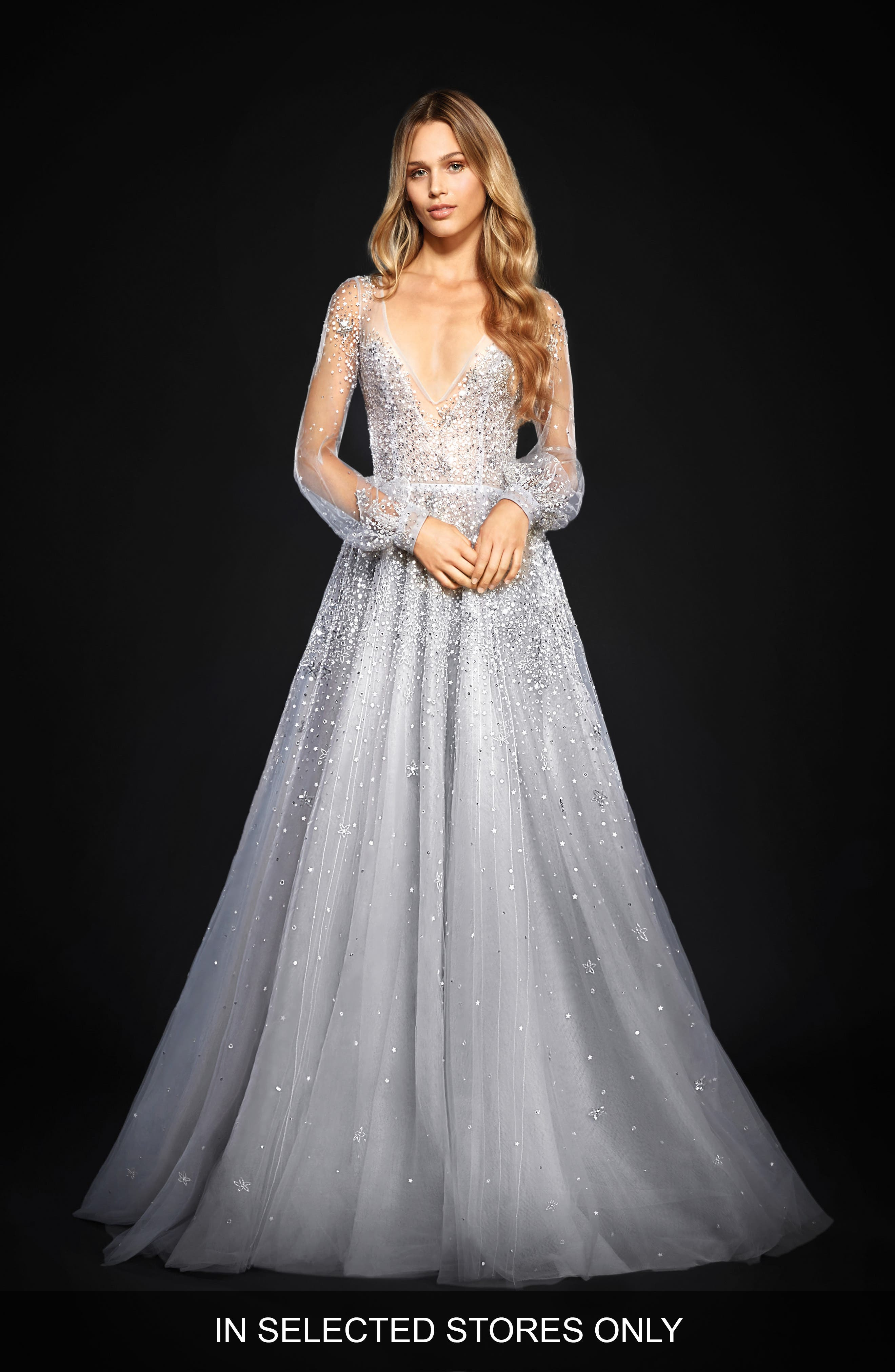 Lumi Embellished Long Sleeve Tulle Ballgown,                             Main thumbnail 1, color,                             BLUEMOON