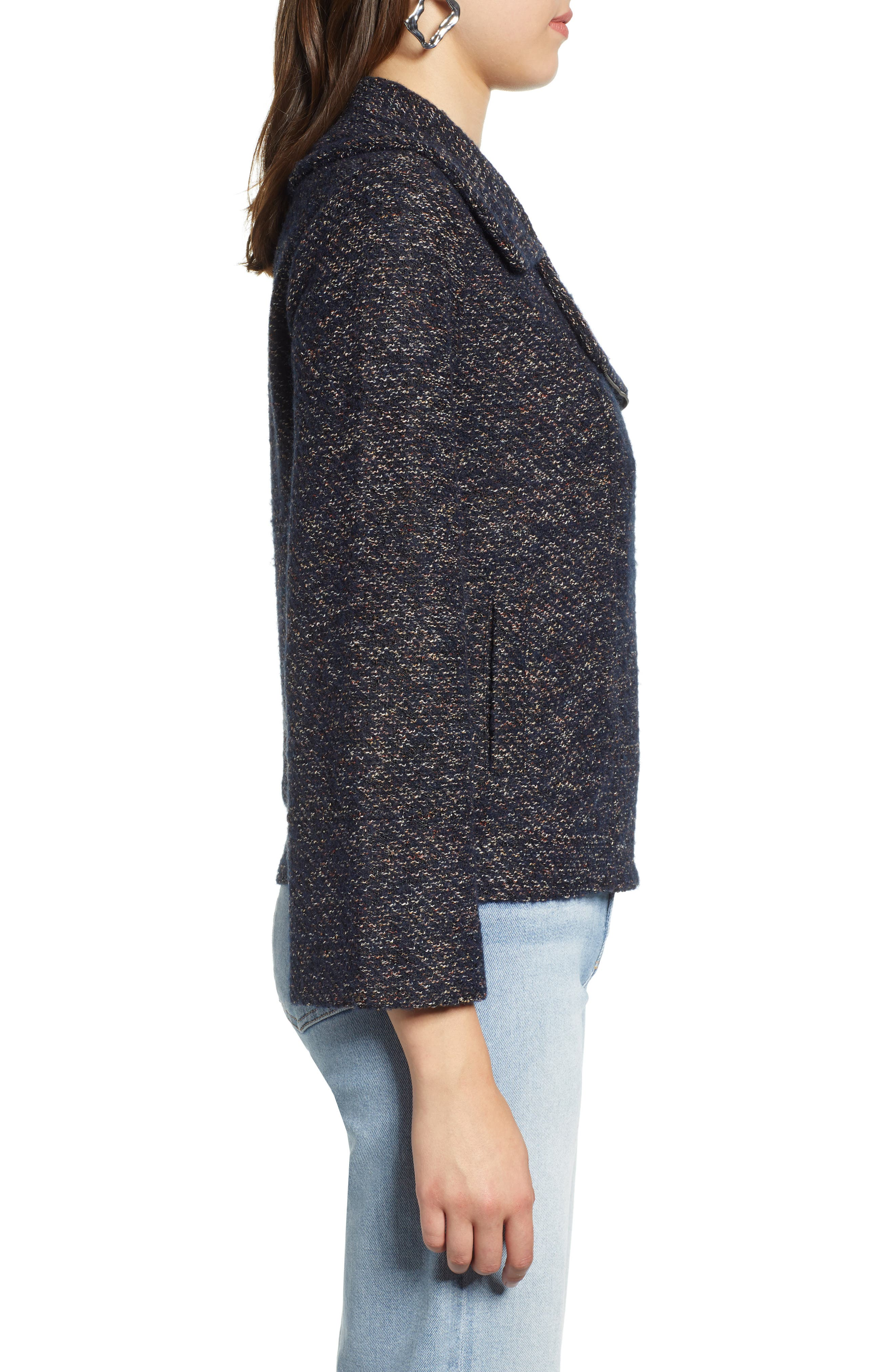 Tweed Moto Jacket,                             Alternate thumbnail 3, color,                             NAVY SPECKLE