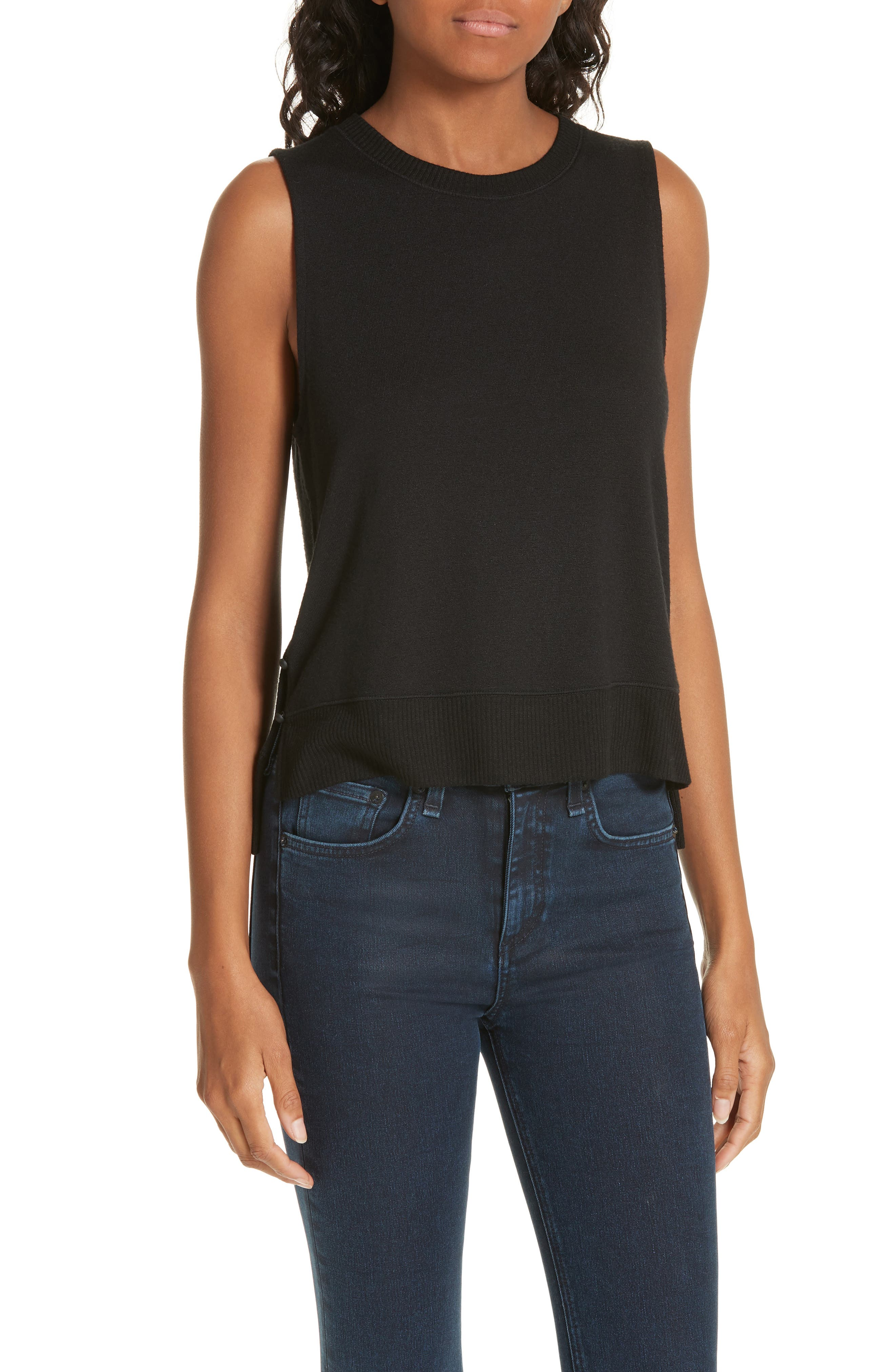 Bowery Side-Button Muscle Tank in Black