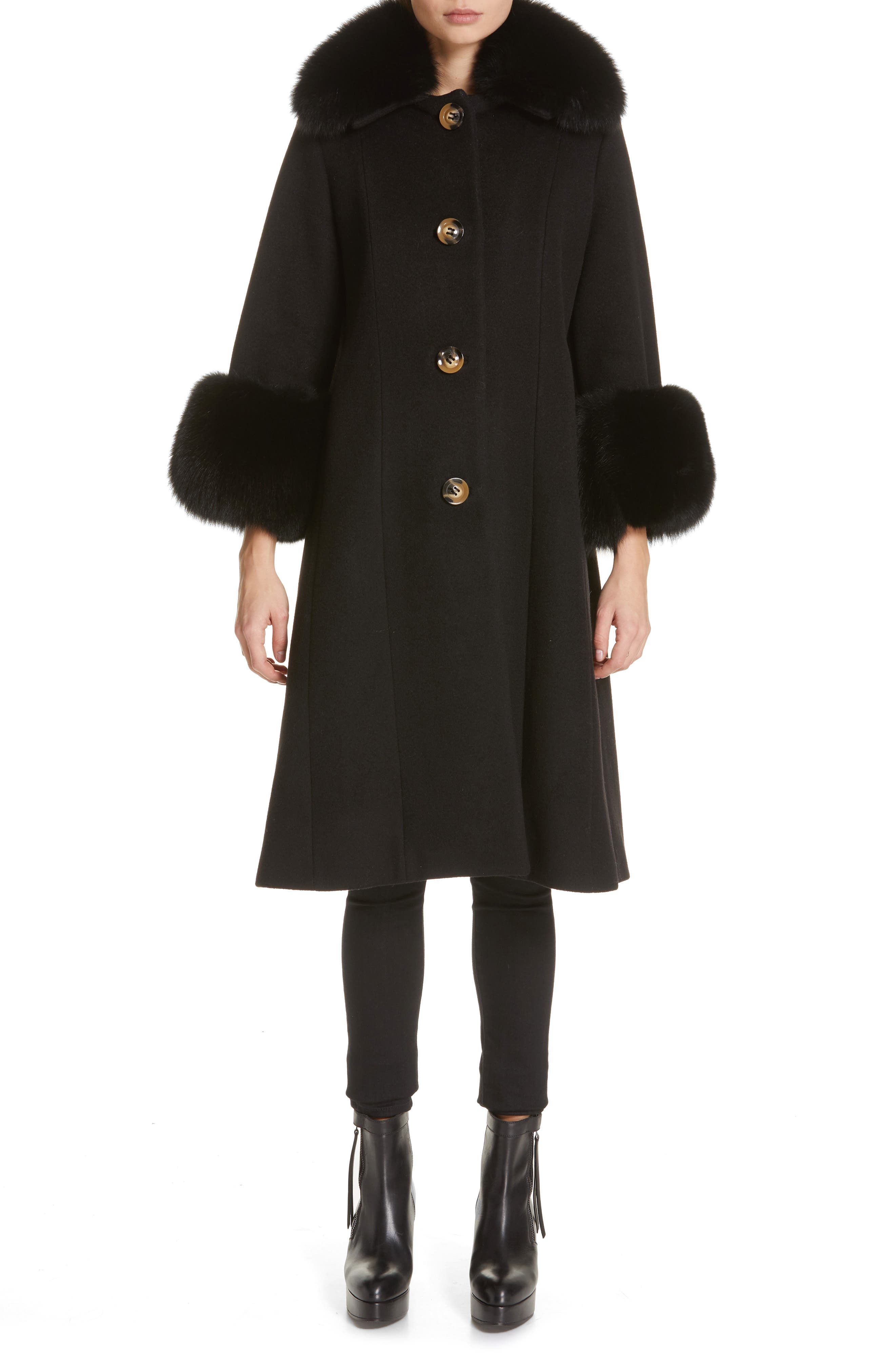 SAKS POTTS,                             Yvonne Wool Coat with Genuine Fox Fur Trim,                             Main thumbnail 1, color,                             001