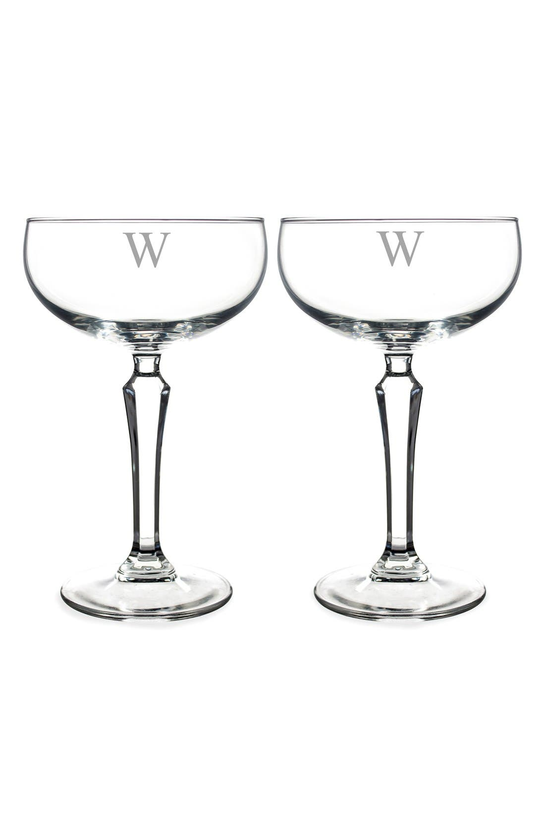 Monogram Coupe Cocktail/Champagne Glasses,                             Alternate thumbnail 28, color,