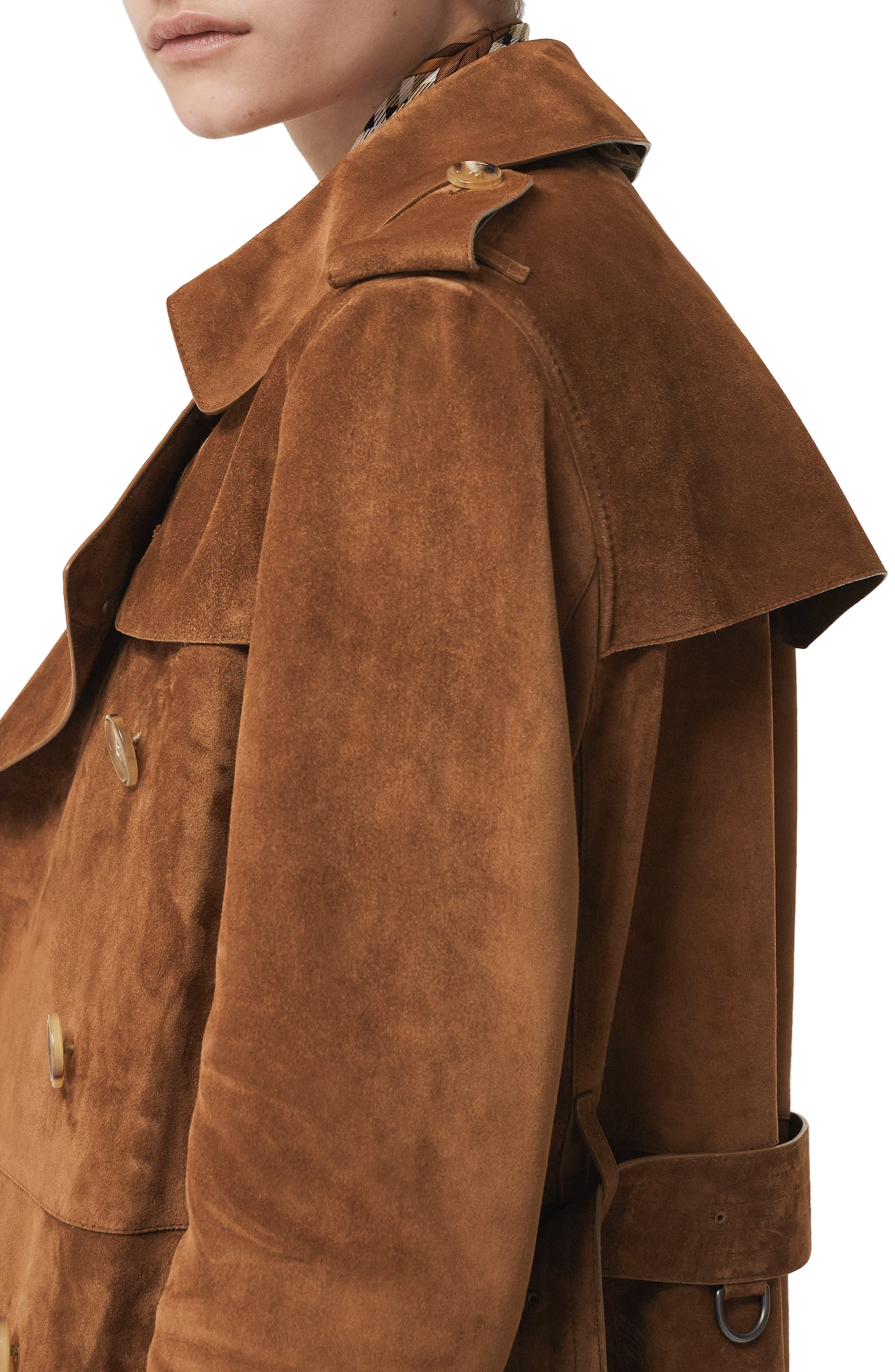 BURBERRY,                             Haddington Suede Trench Coat,                             Alternate thumbnail 4, color,                             SEPIA BROWN