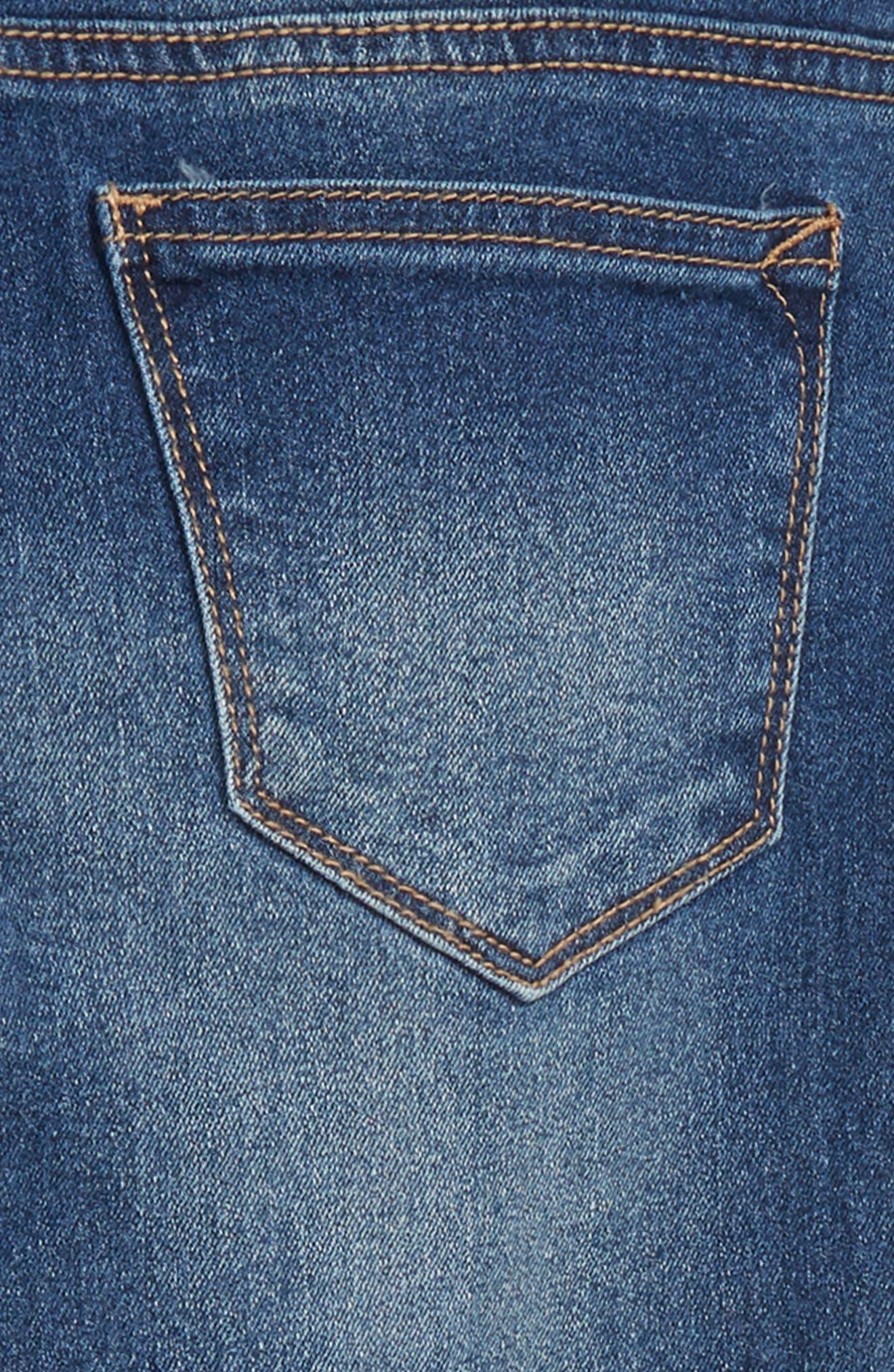 Star Appliqué Skinny Jeans,                             Alternate thumbnail 3, color,                             Blue