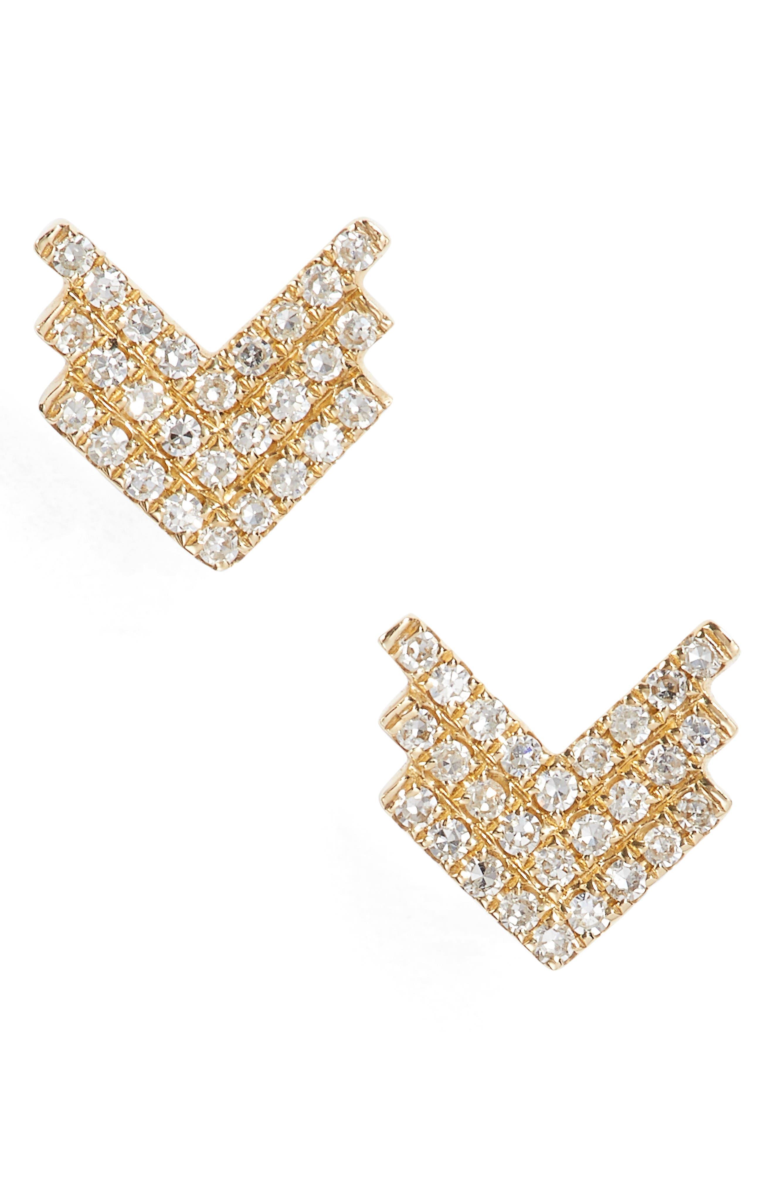 Shield Diamond Stud Earrings,                             Main thumbnail 1, color,