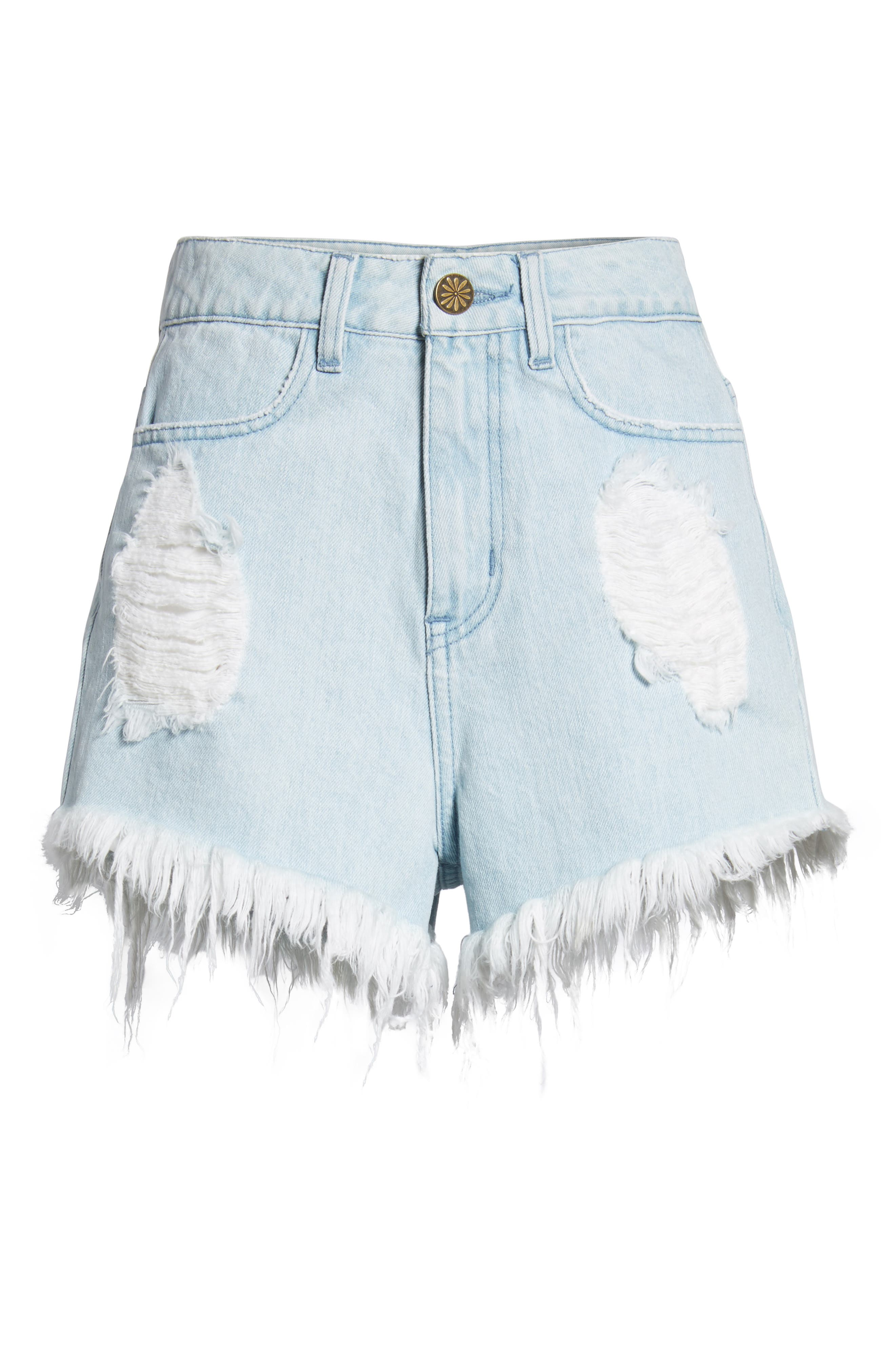 Wyoming High Waist Cutoff Denim Shorts,                             Alternate thumbnail 6, color,                             WHITEWATER WITH CACTUS