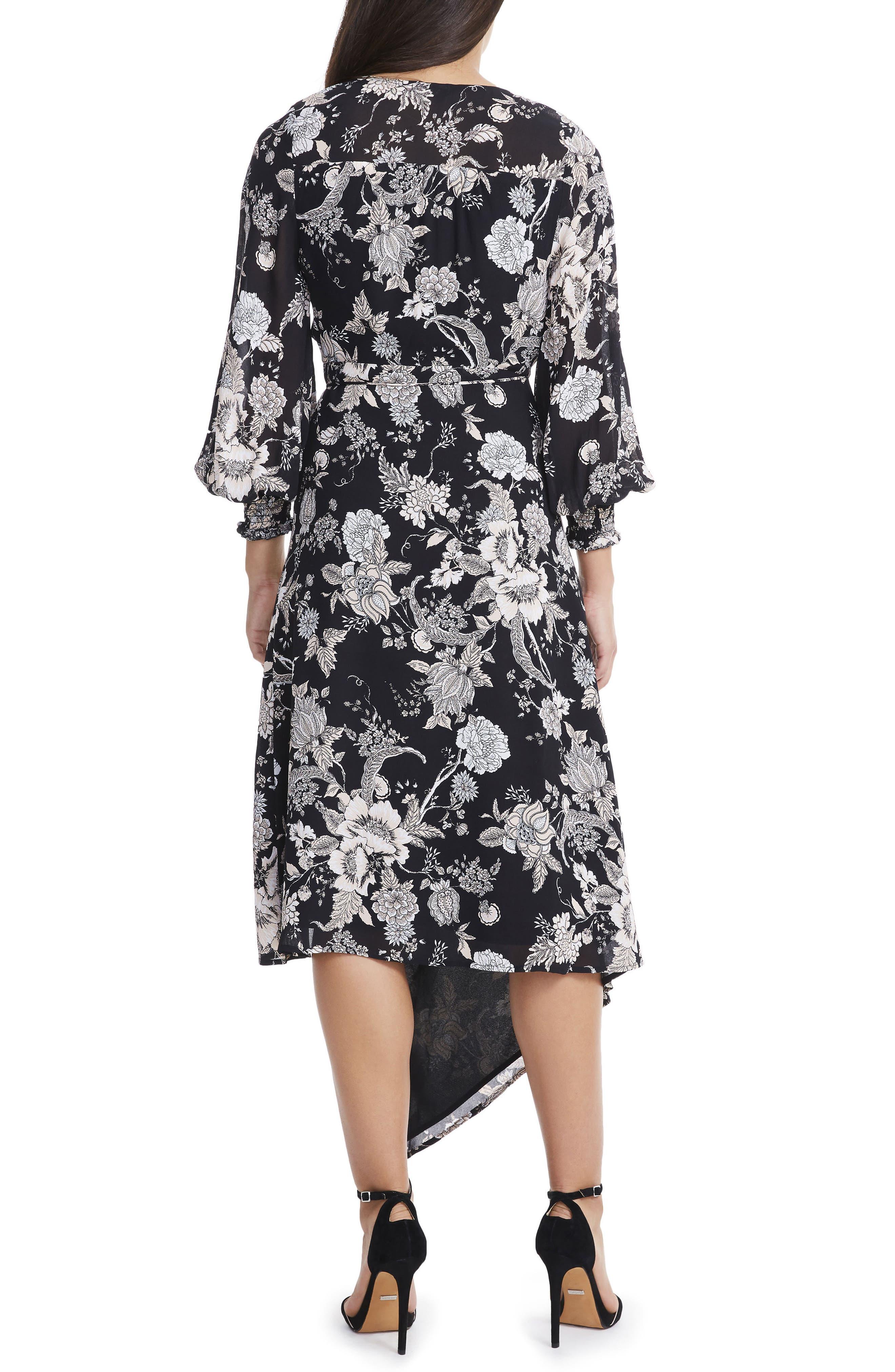 Amalfi Lantern Wrap Dress,                             Alternate thumbnail 2, color,                             001