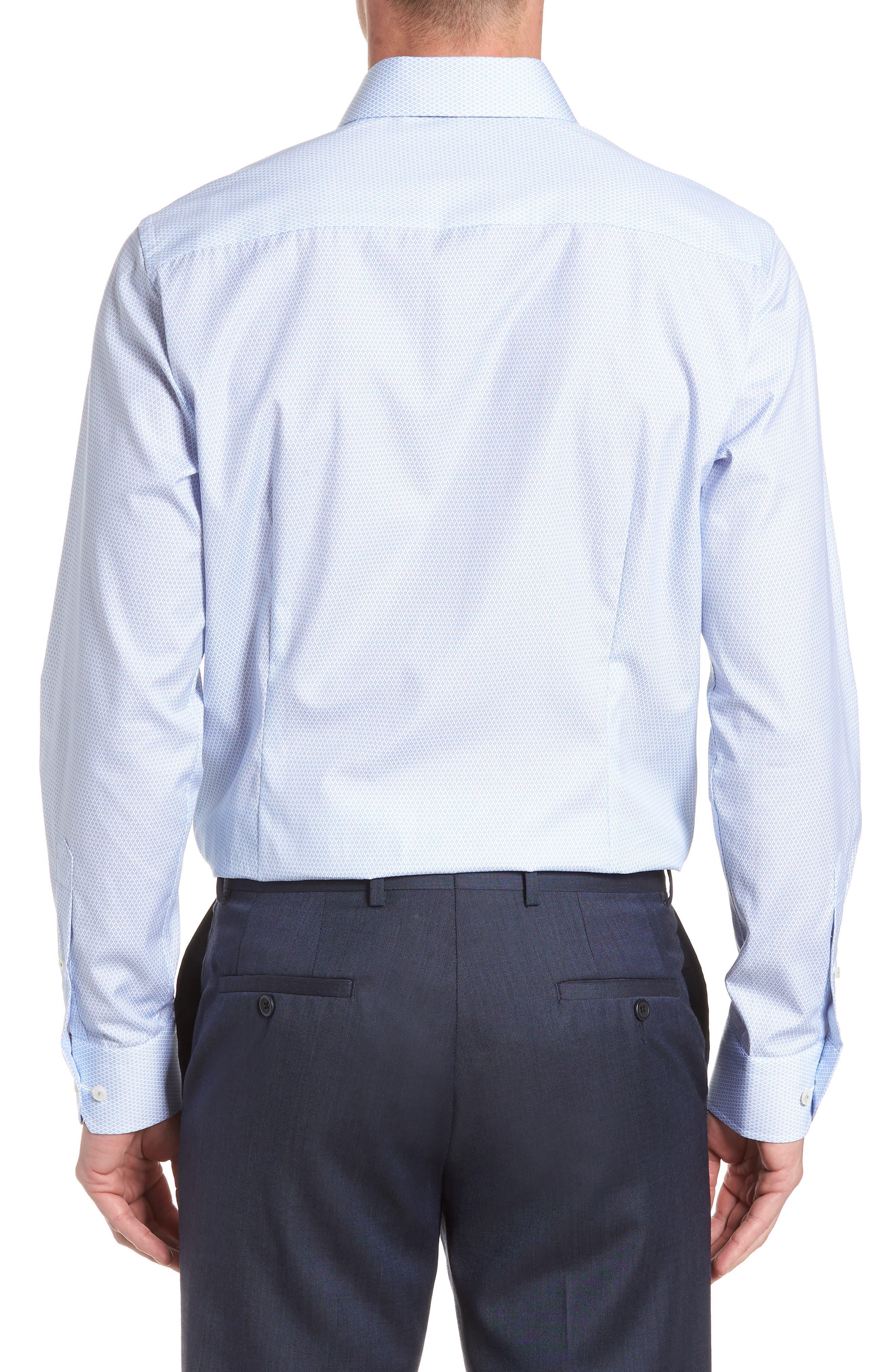Contemporary Fit Print Dress Shirt,                             Alternate thumbnail 3, color,                             BLUE