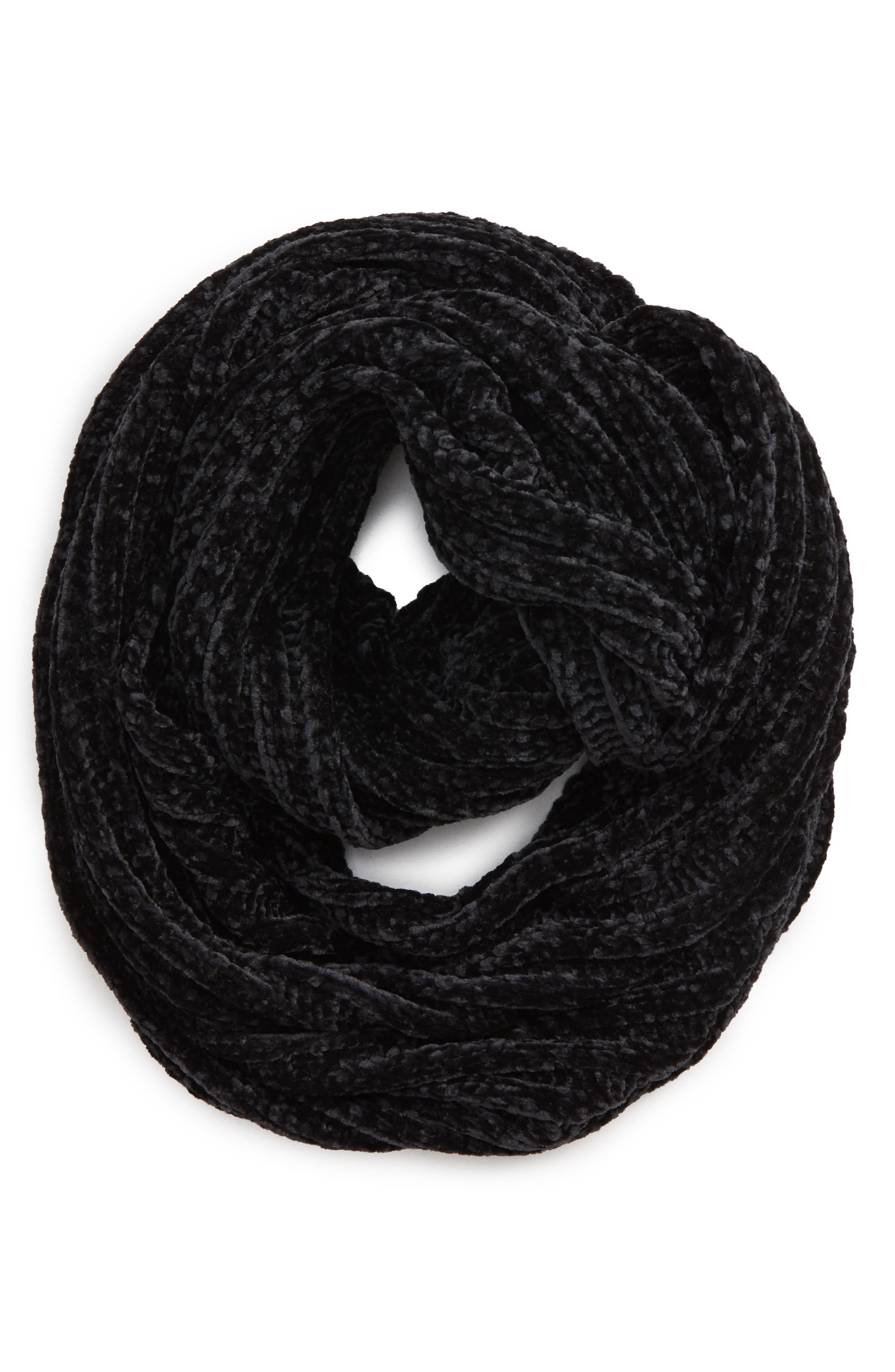 Chenille Infinity Scarf,                             Alternate thumbnail 2, color,                             BLACK