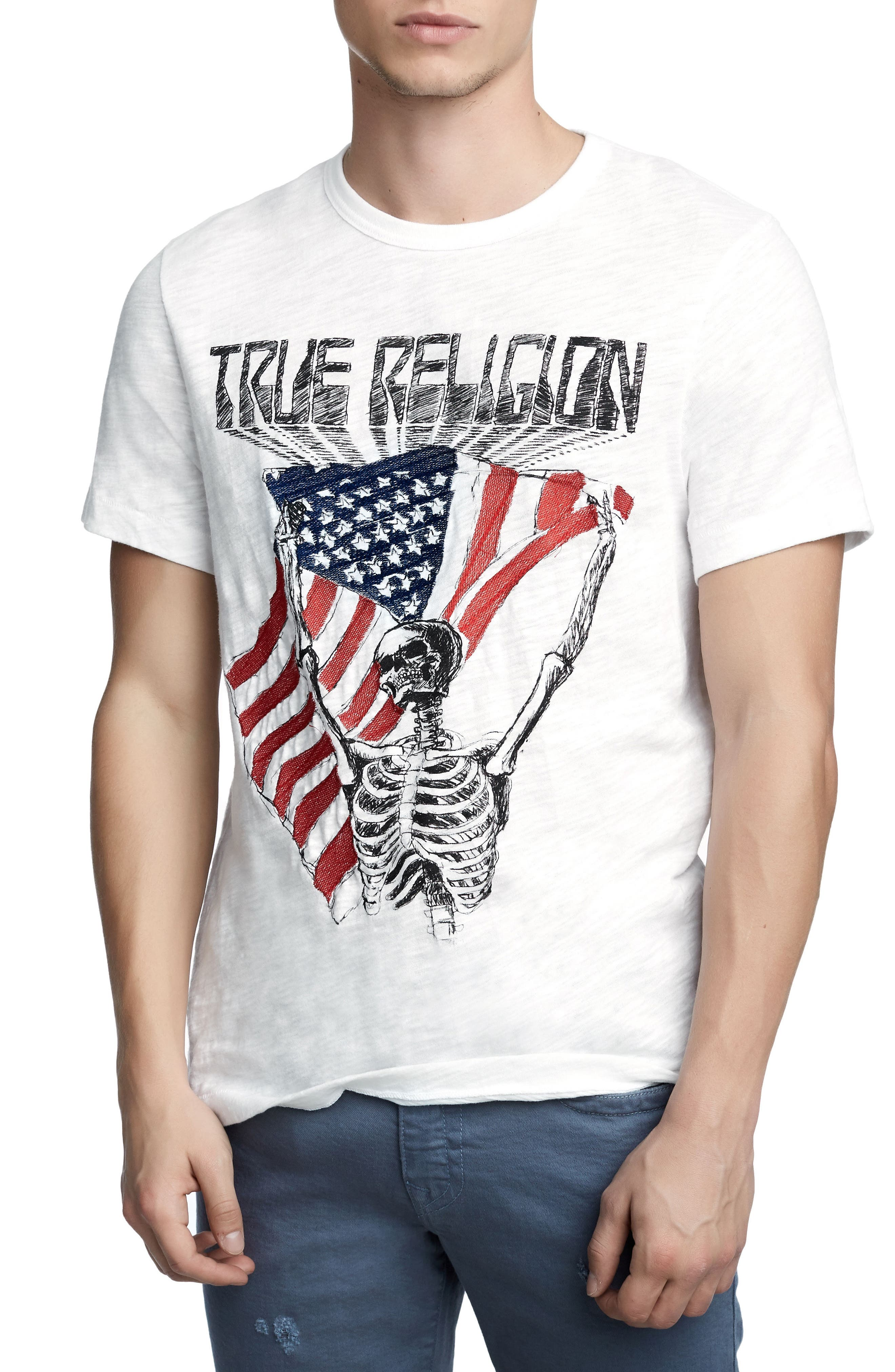 TRUE RELIGION BRAND JEANS Born Free T-Shirt, Main, color, 100
