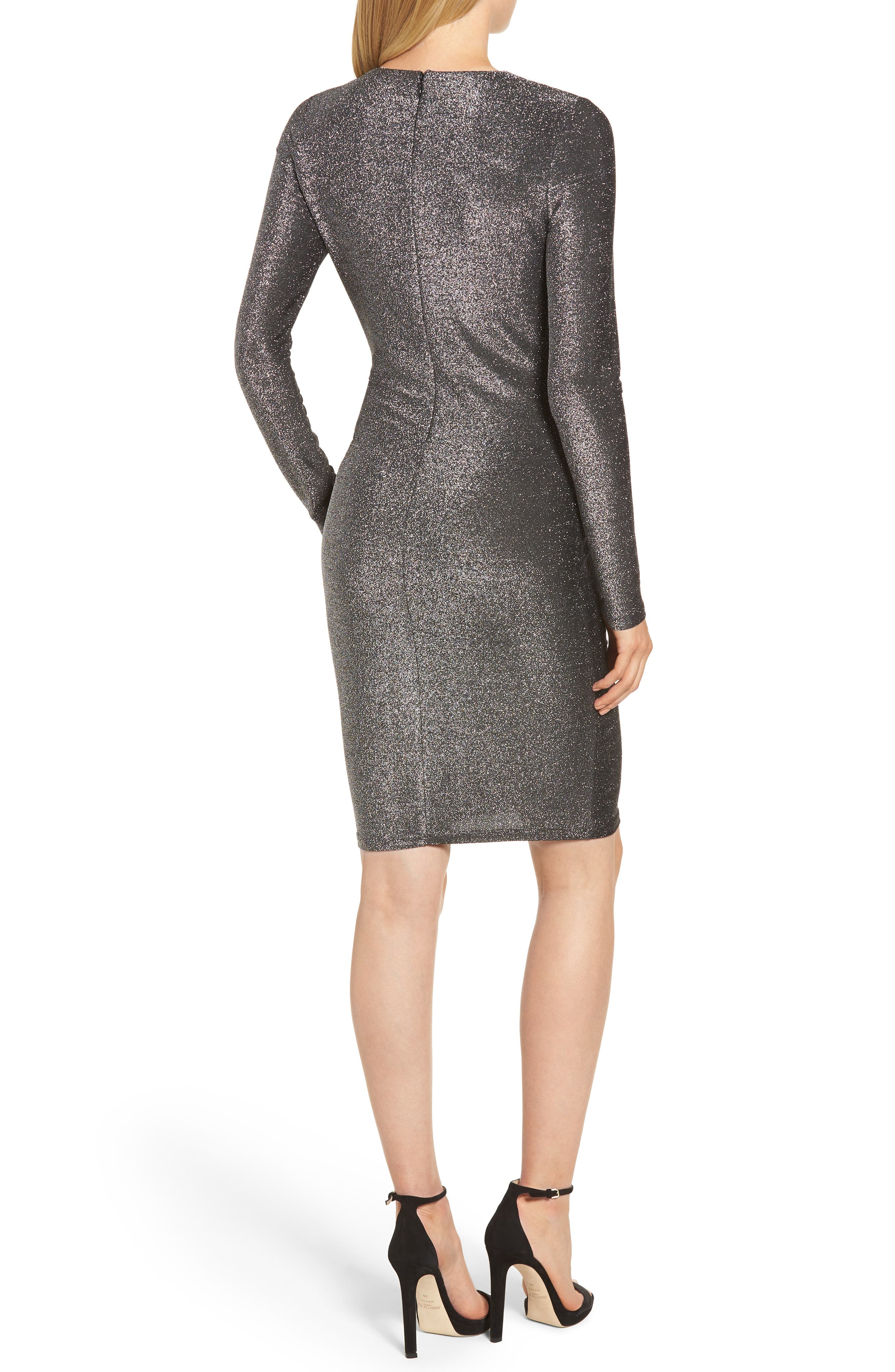 Twist Front Sheath Dress,                             Alternate thumbnail 2, color,                             BLACK/ SILVER