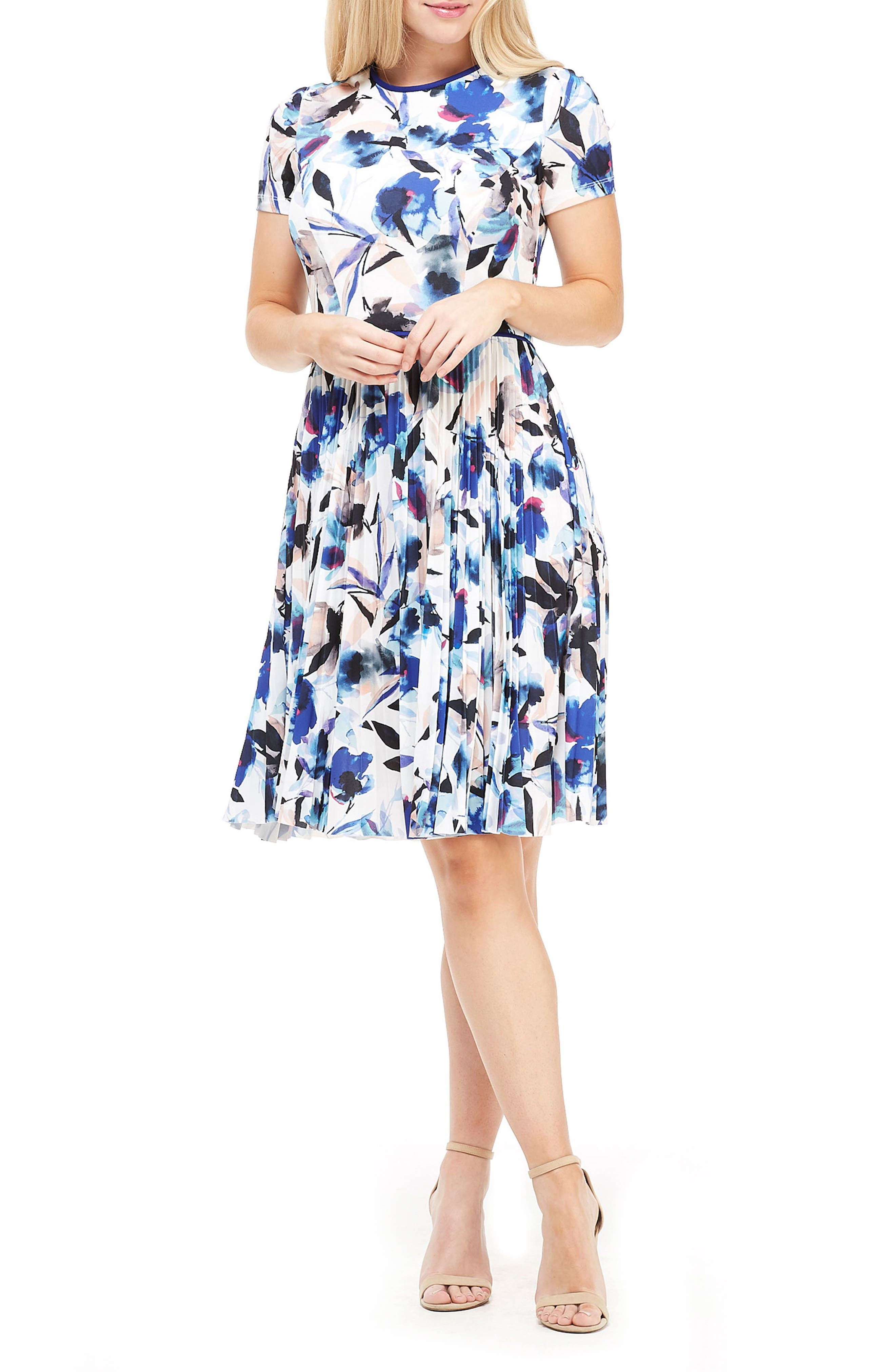 Maggy London Tossed Bouquet Pleated Dress, Blue