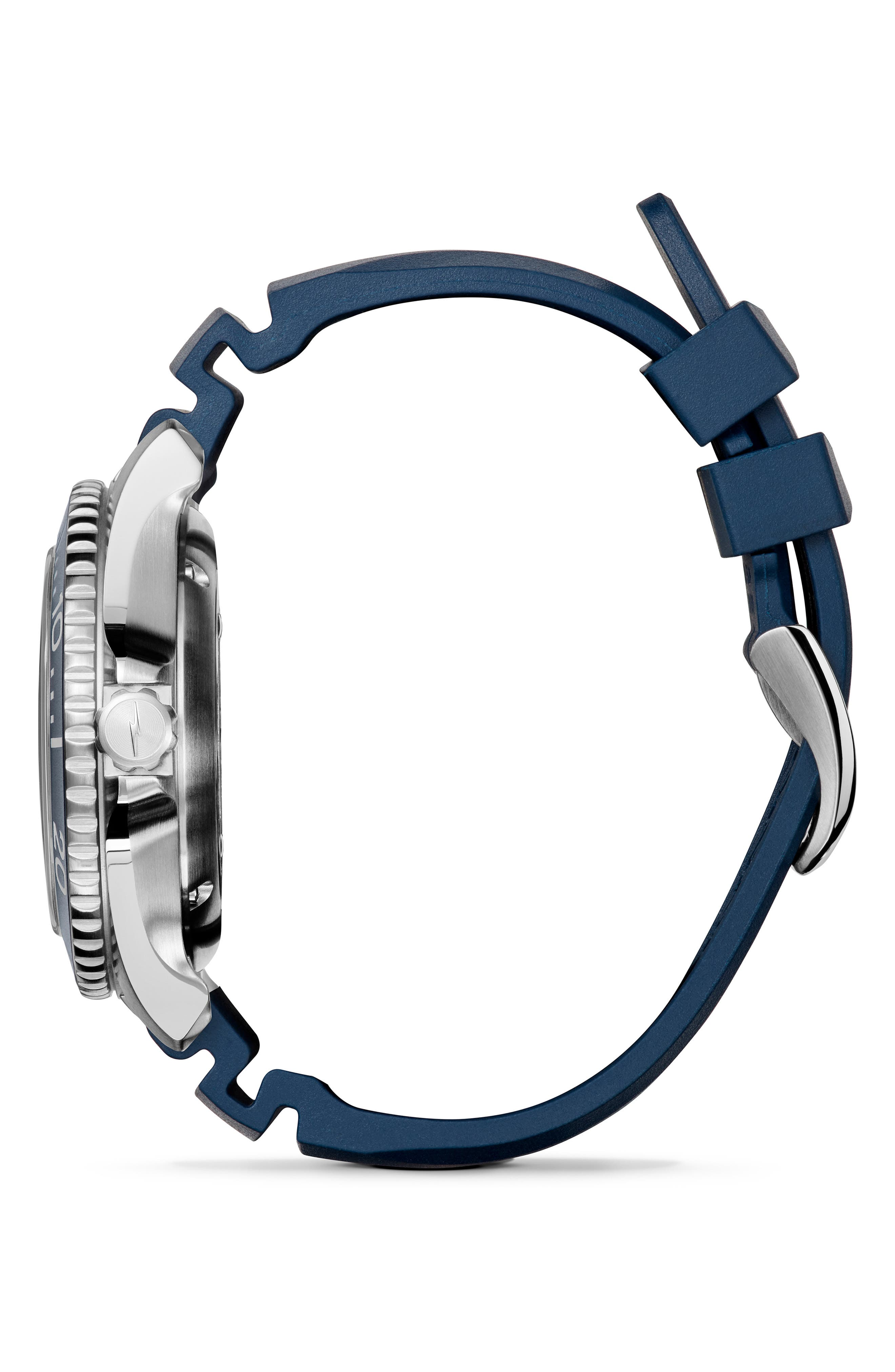 Monster Automatic Rubber Strap Watch, 43mm,                             Alternate thumbnail 3, color,                             SILVER/ MIDNIGHT