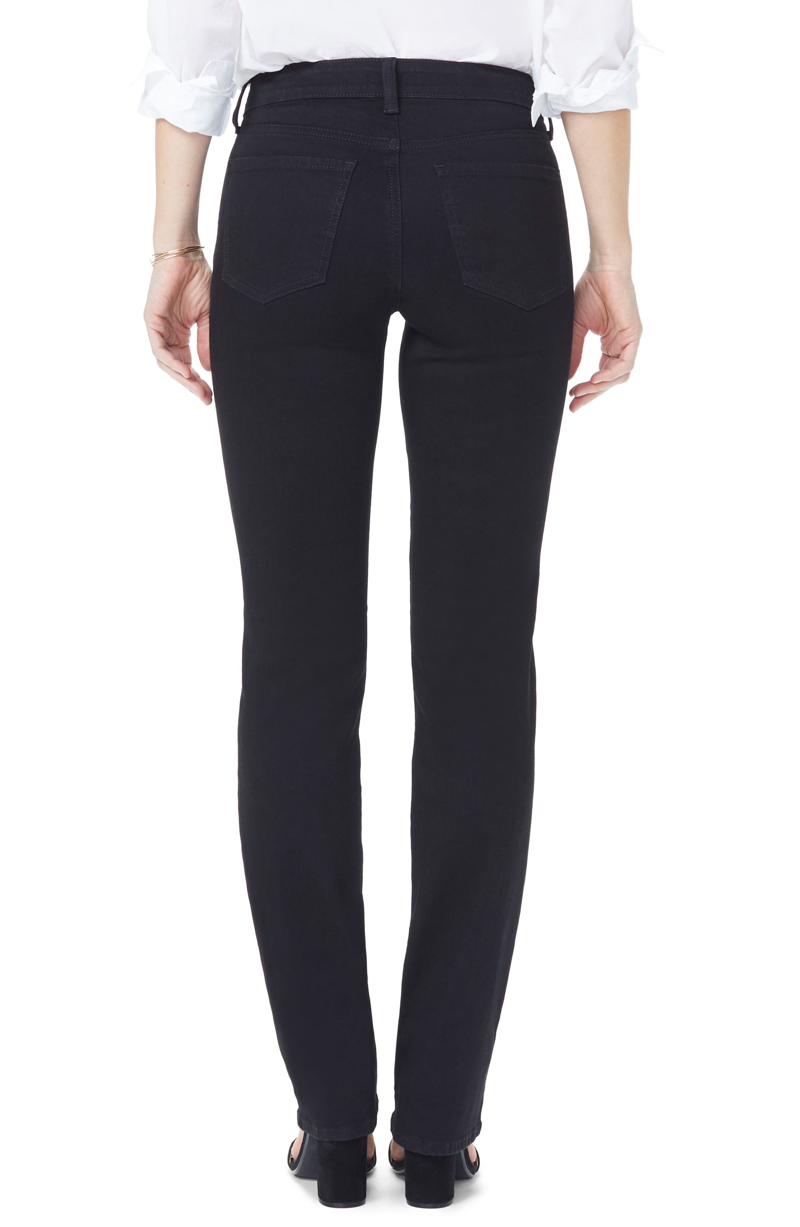 Marilyn High Waist Straight Jeans,                             Alternate thumbnail 2, color,                             BLACK