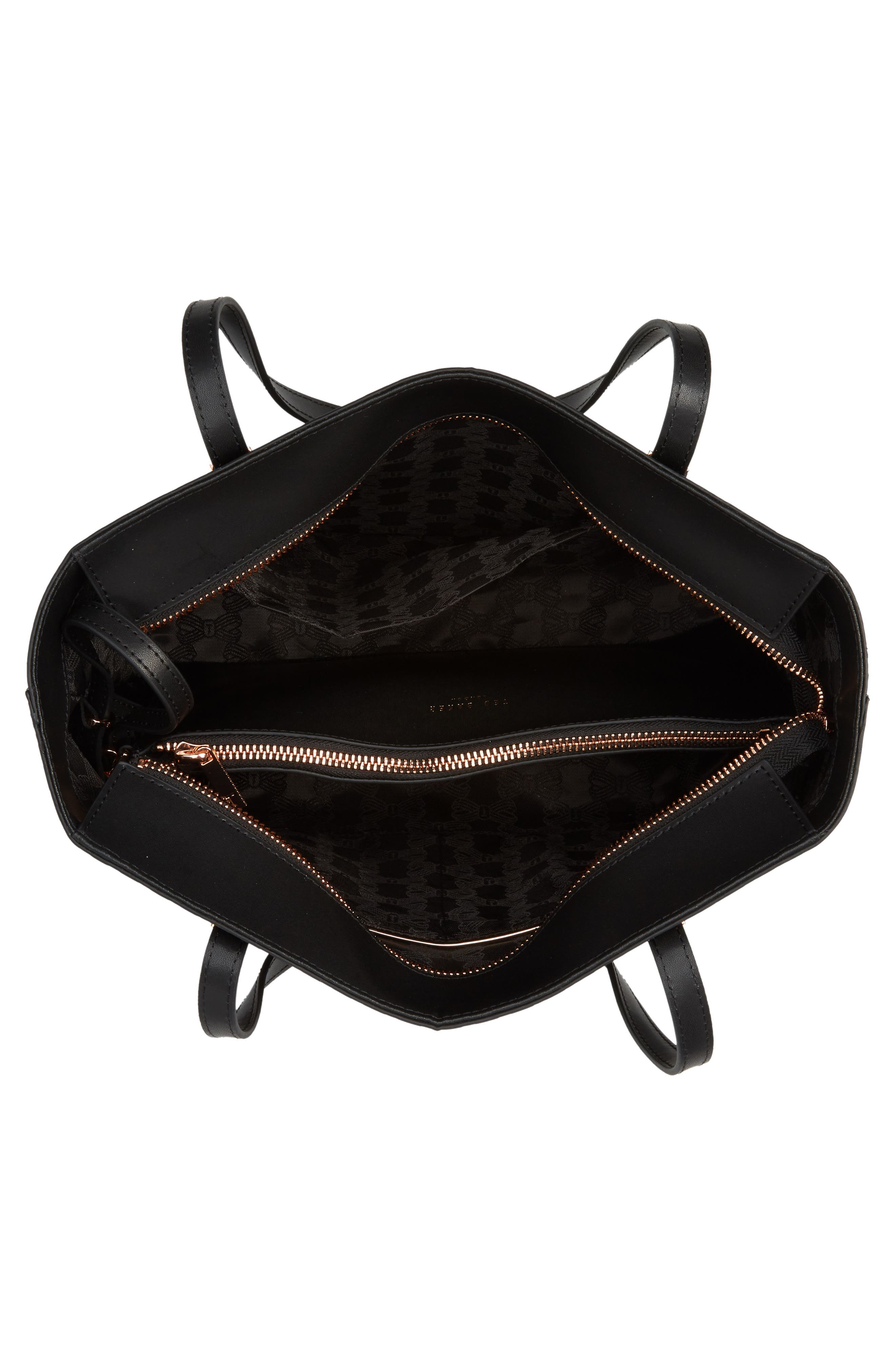 Bow Embossed Leather Shopper,                             Alternate thumbnail 4, color,                             BLACK