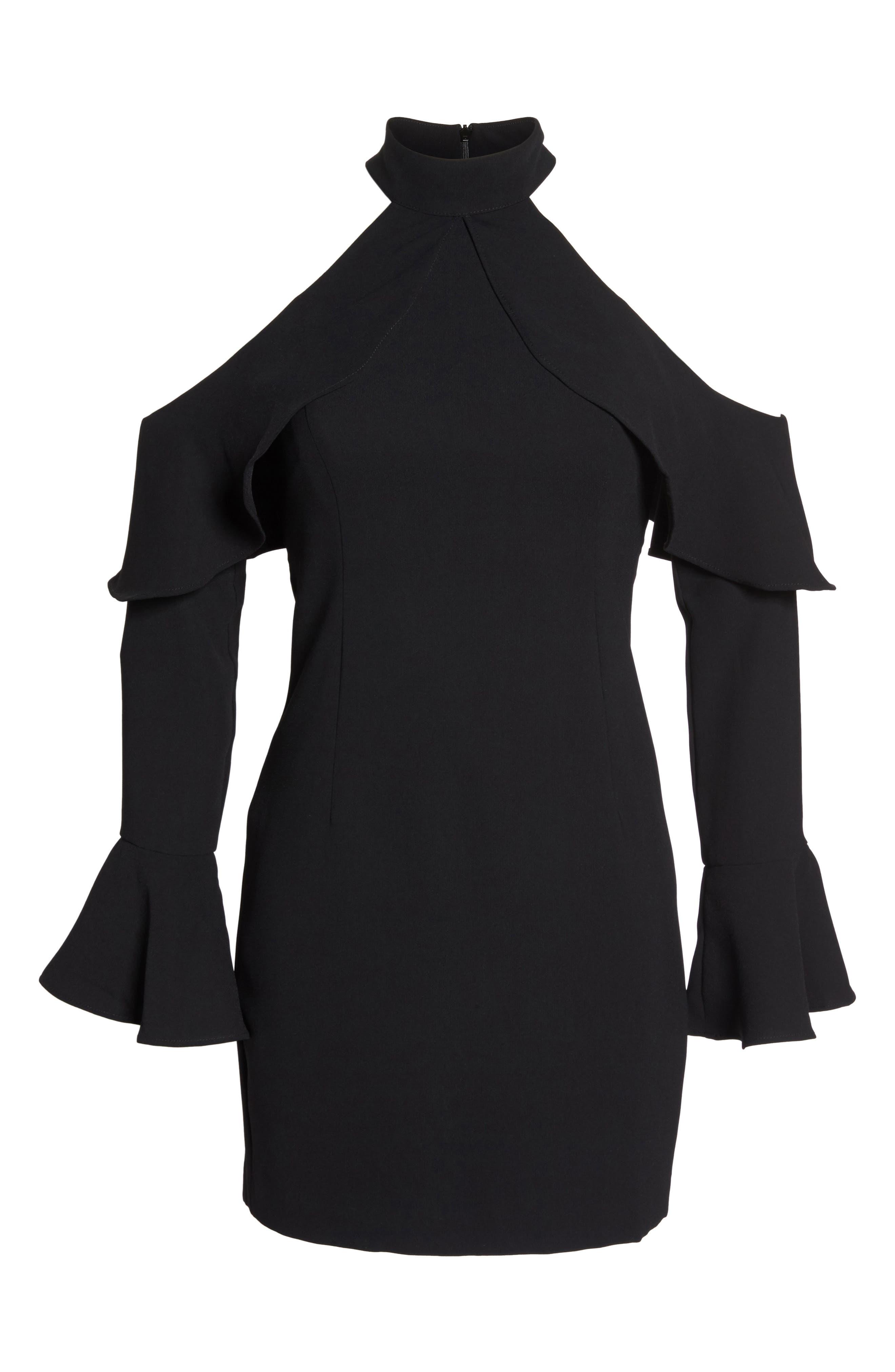 Nightshade Cold Shoulder Sheath Dress,                             Alternate thumbnail 6, color,                             001