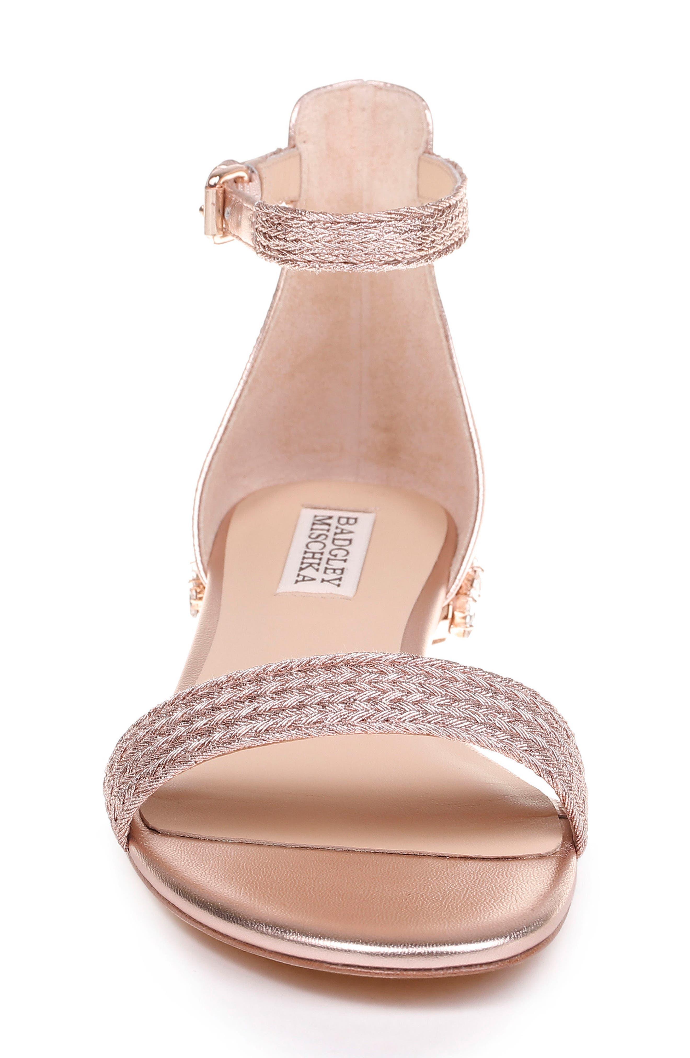 Steffie Ankle Strap Sandal,                             Alternate thumbnail 4, color,                             ROSE GOLD LEATHER