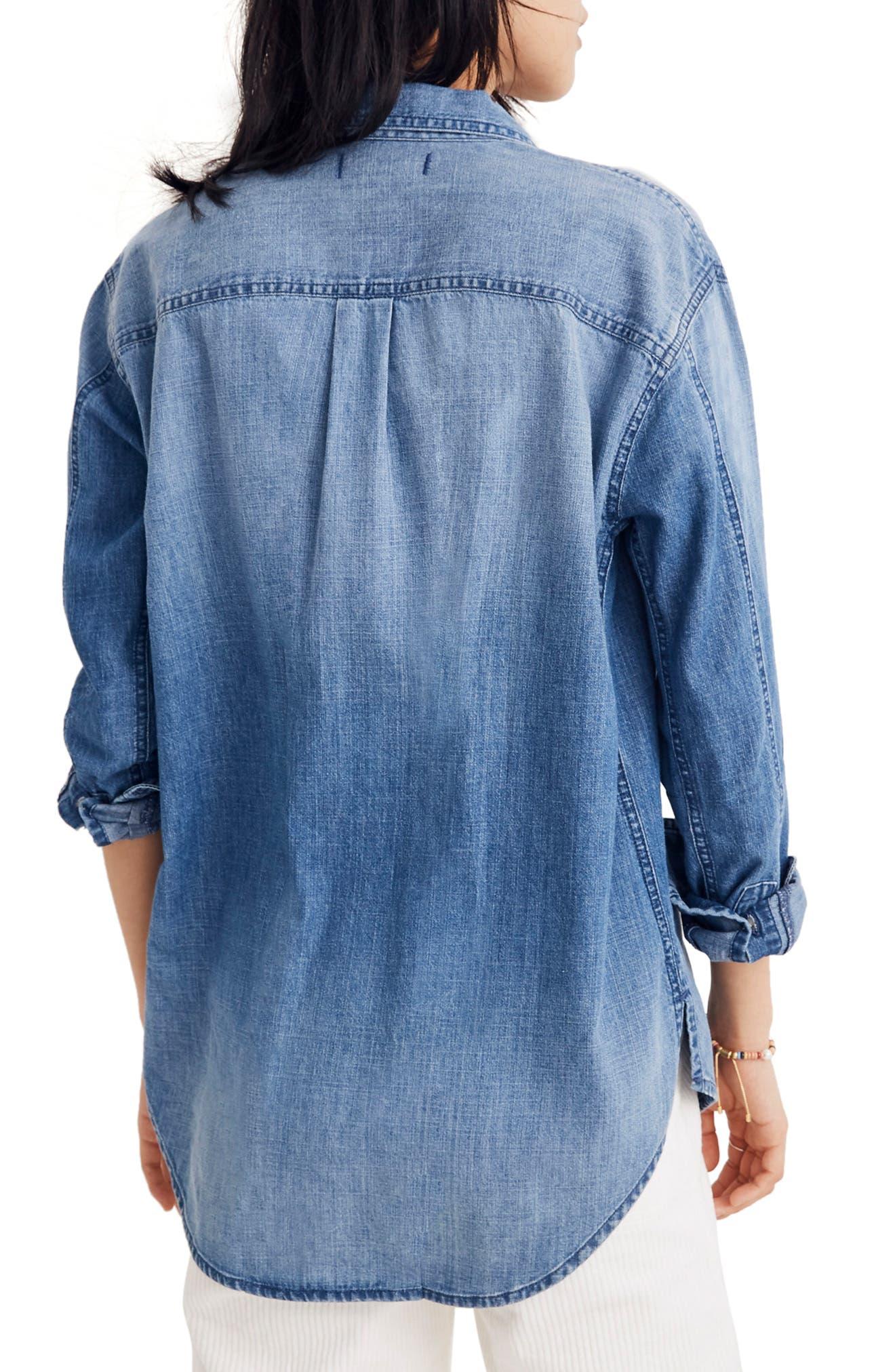 Denim Oversize Ex-Boyfriend Shirt,                             Alternate thumbnail 2, color,                             400