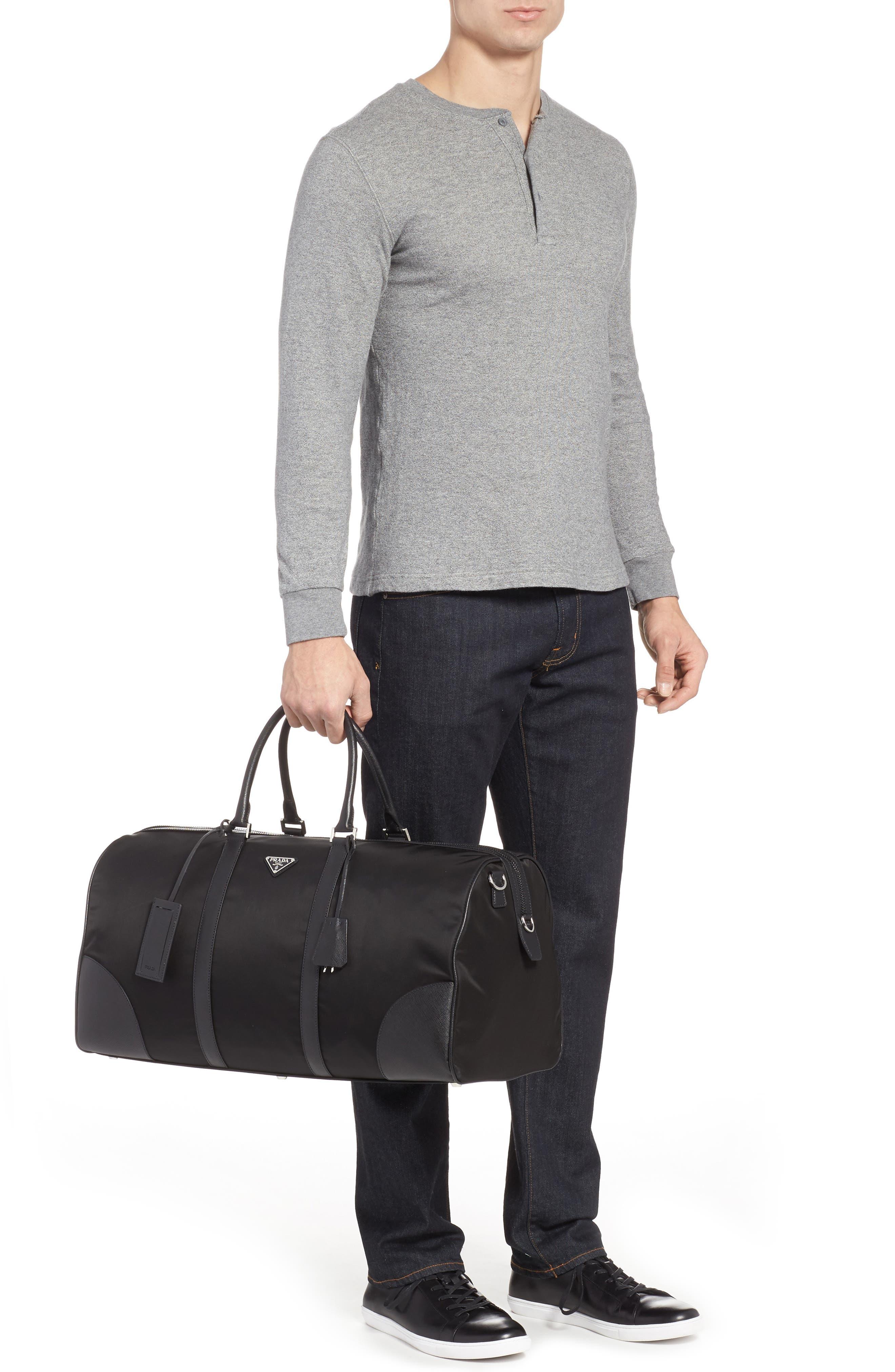 Nylon & Saffiano Leather Bowling Bag,                             Alternate thumbnail 2, color,                             001