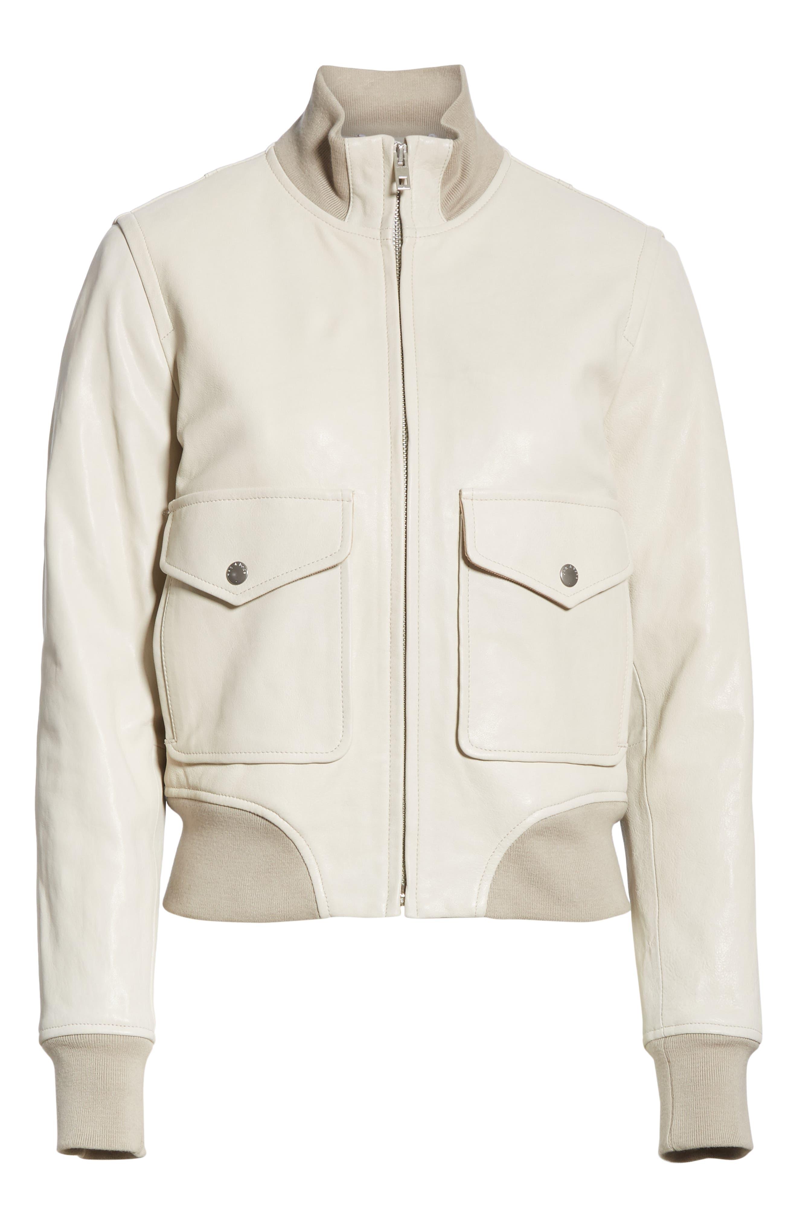 Mila Lambskin Leather Jacket,                             Alternate thumbnail 5, color,                             IVORY