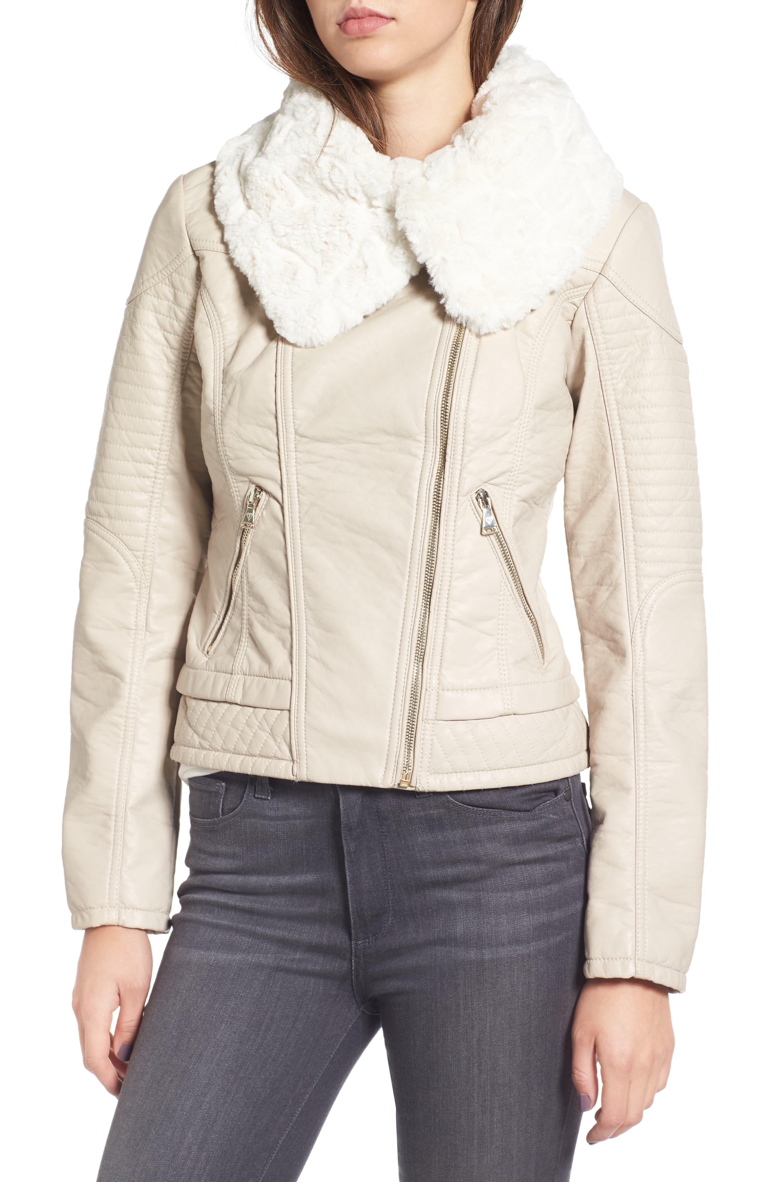 Faux Fur Collar Jacket,                             Alternate thumbnail 4, color,                             077