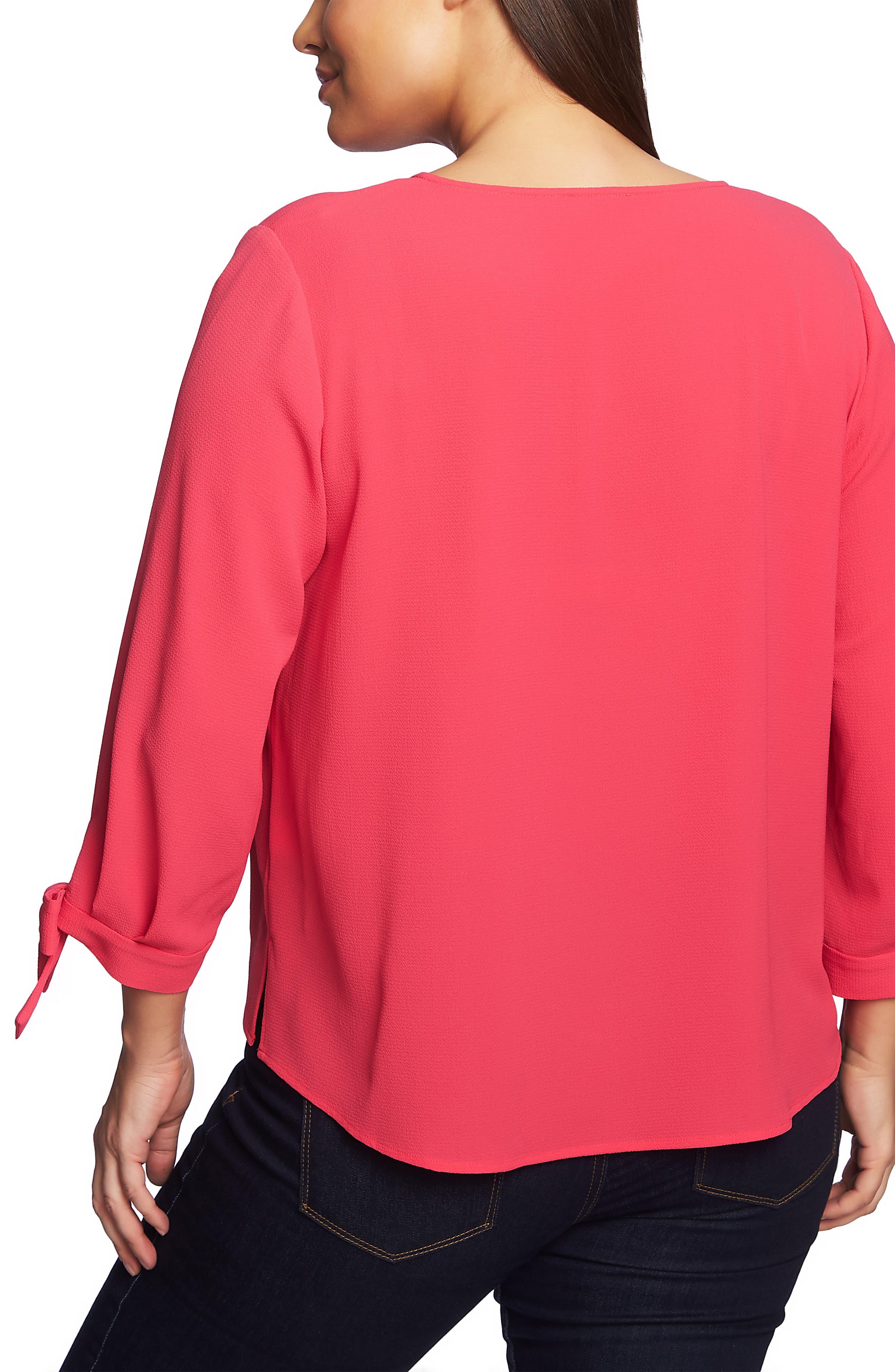 CECE,                             Tie Sleeve Blouse,                             Alternate thumbnail 2, color,                             FUCHSIA PETAL