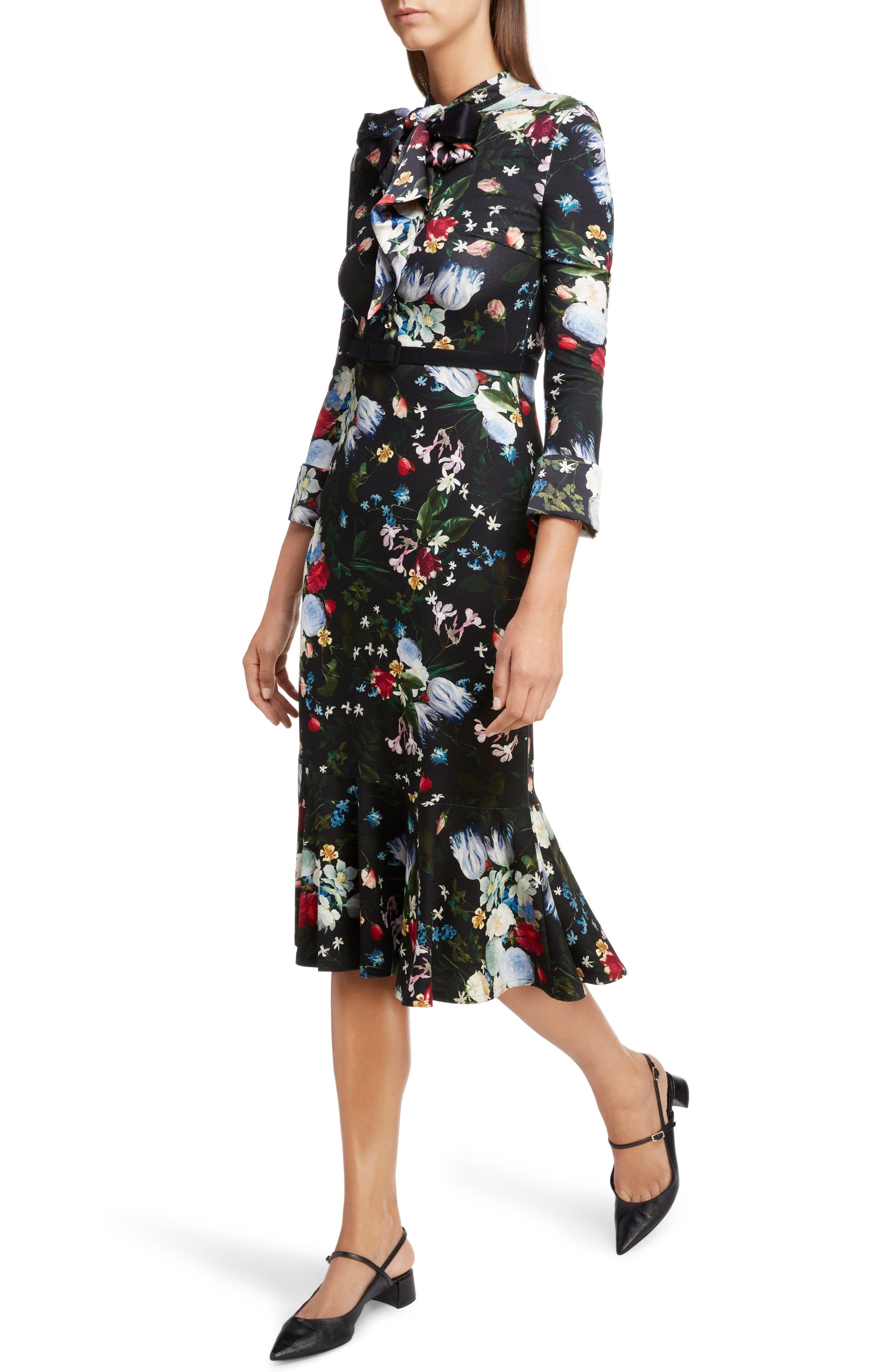 Floral Ponte Jersey Tie Neck Dress,                             Alternate thumbnail 4, color,                             BLACK/ MULTI
