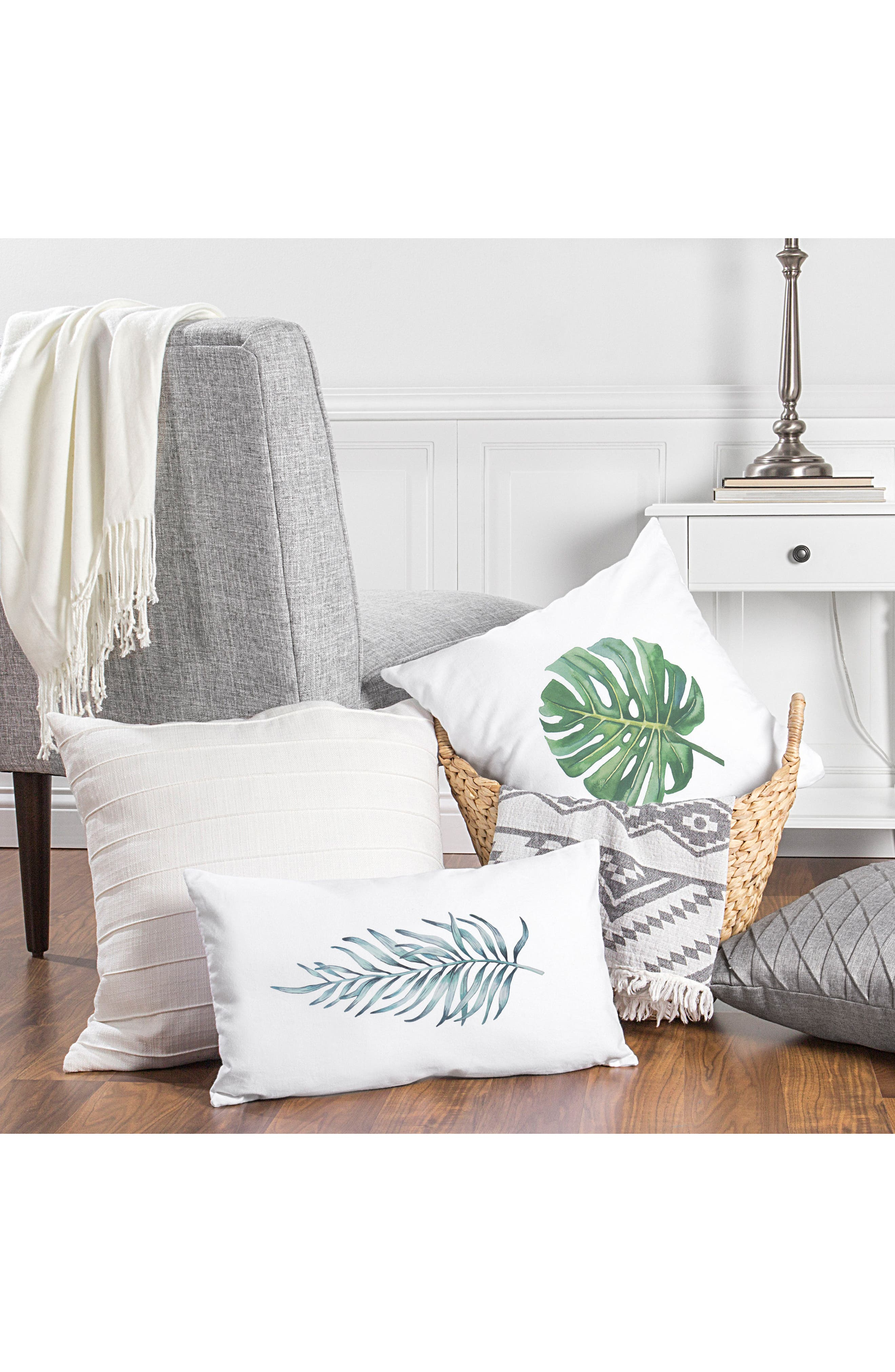 Palm Leaf Lumbar Accent Pillow,                             Alternate thumbnail 7, color,                             300